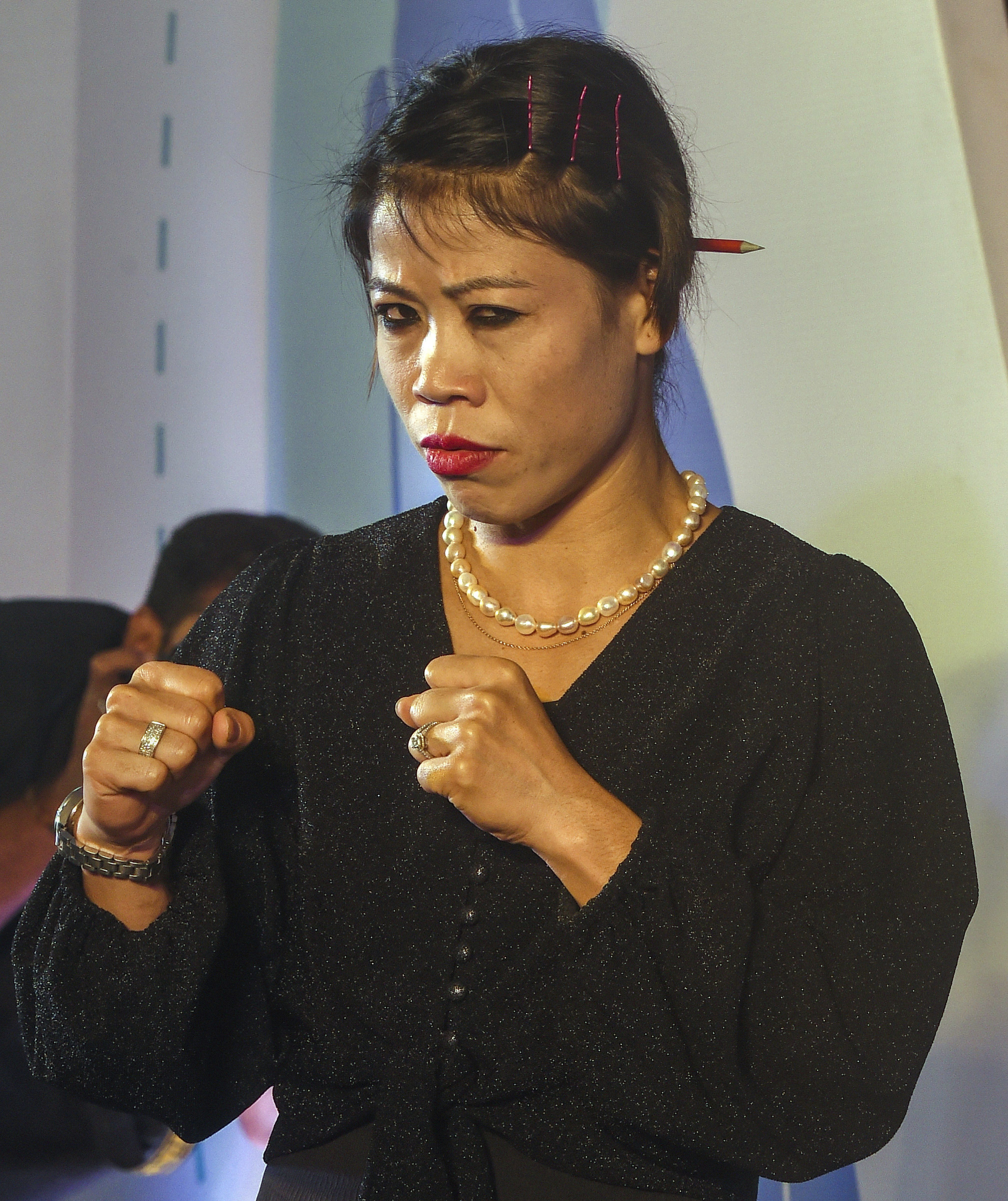 Six-time world champion boxer MC Mary Kom during an event by Indian Federation of Sports Gaming (IFSG) 'Stars of Tomorrow' for athlete support programme extended to 13 promising young athletes, in Mumbai - PTI