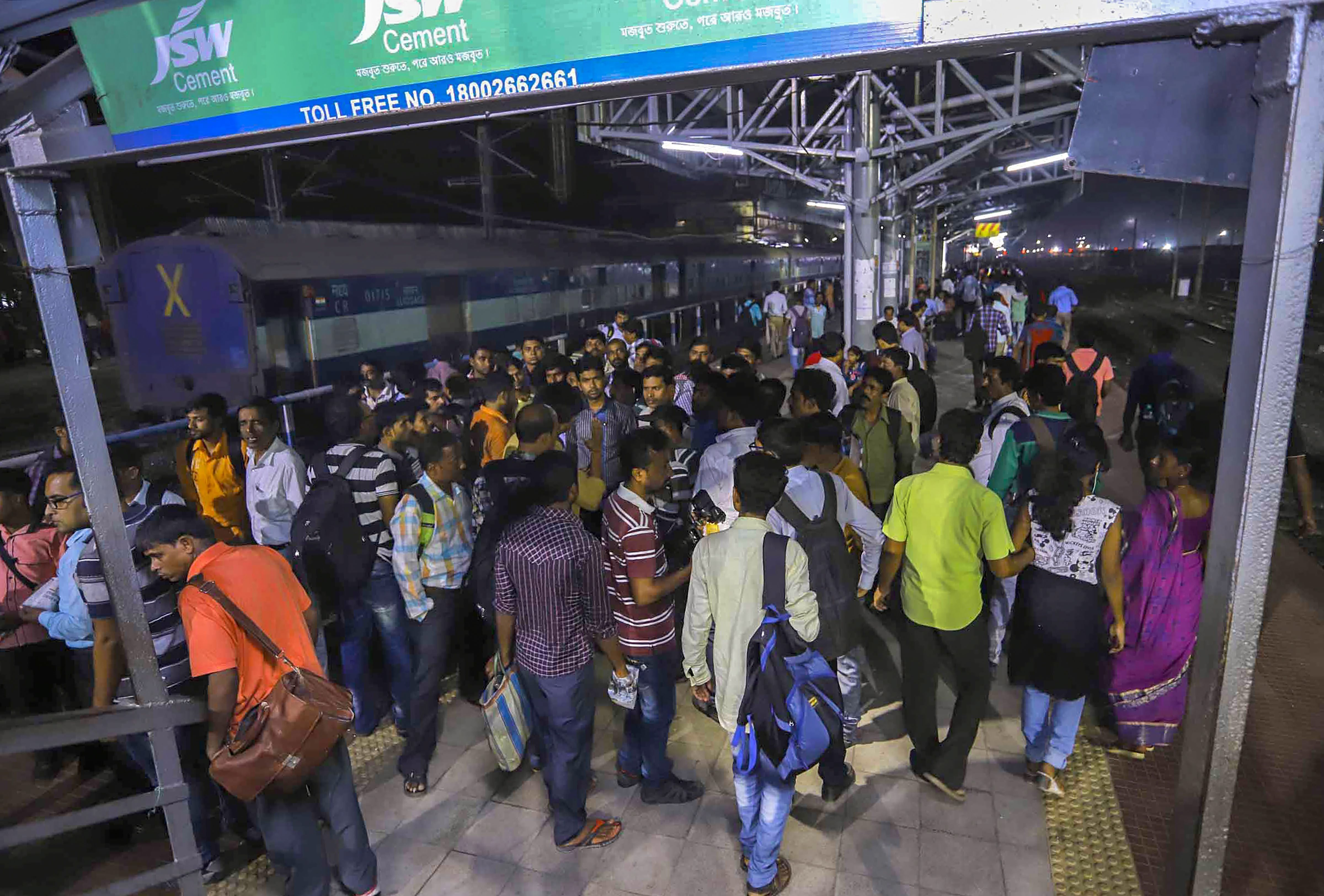 Passengers at a platform at Santragachi Station where a stampede took place, in Howrah district of West Bengal - PTI