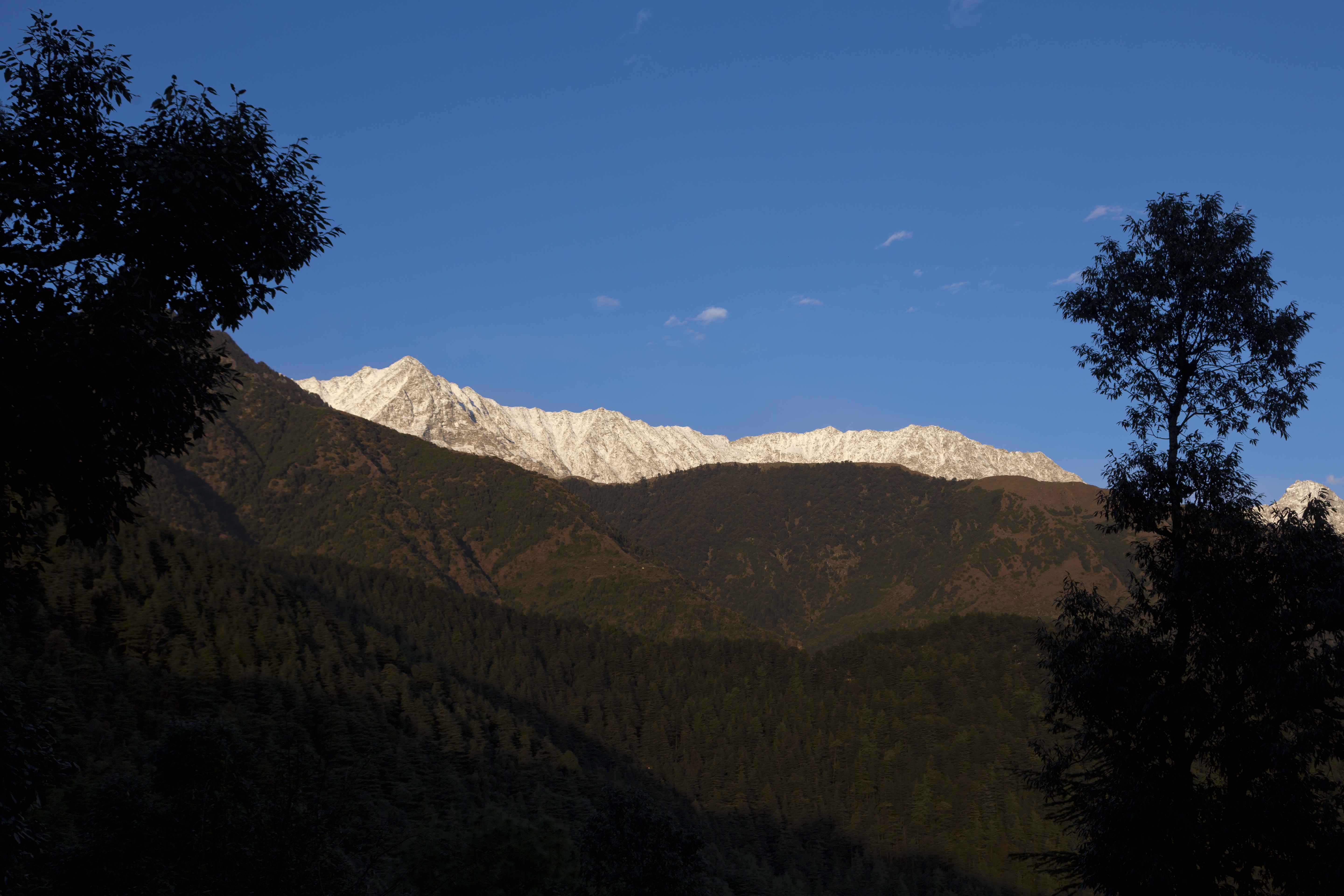 A sprinkling of early winter snow on the Dhauladhar range of the Himalaya is seen in Dharmsala -AP