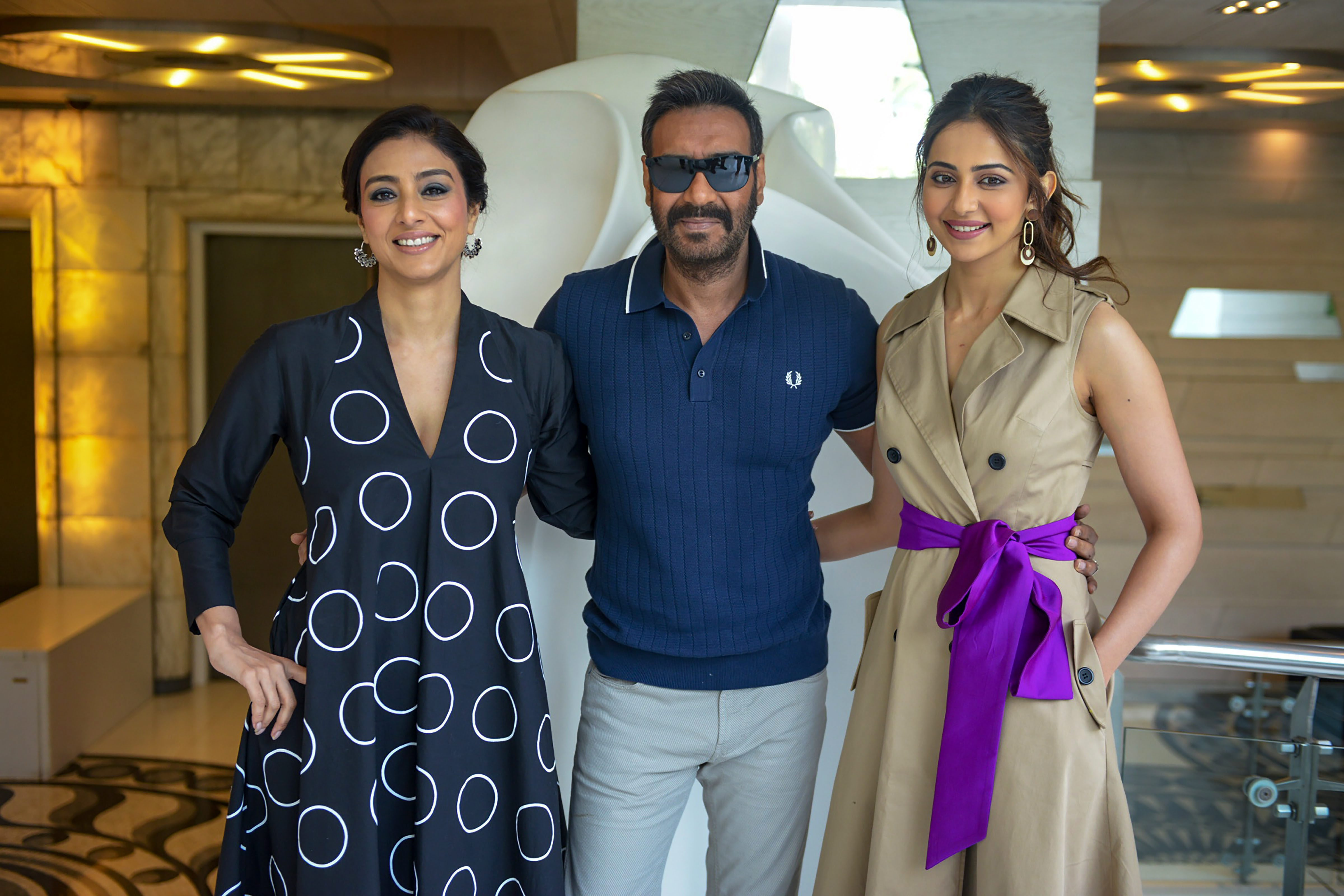 Bollywood actors Tabu, Ajay Devgn and Rakul Preet Singh during a promotion of their upcoming film 'De De Pyaar De', in New Delhi - PTI