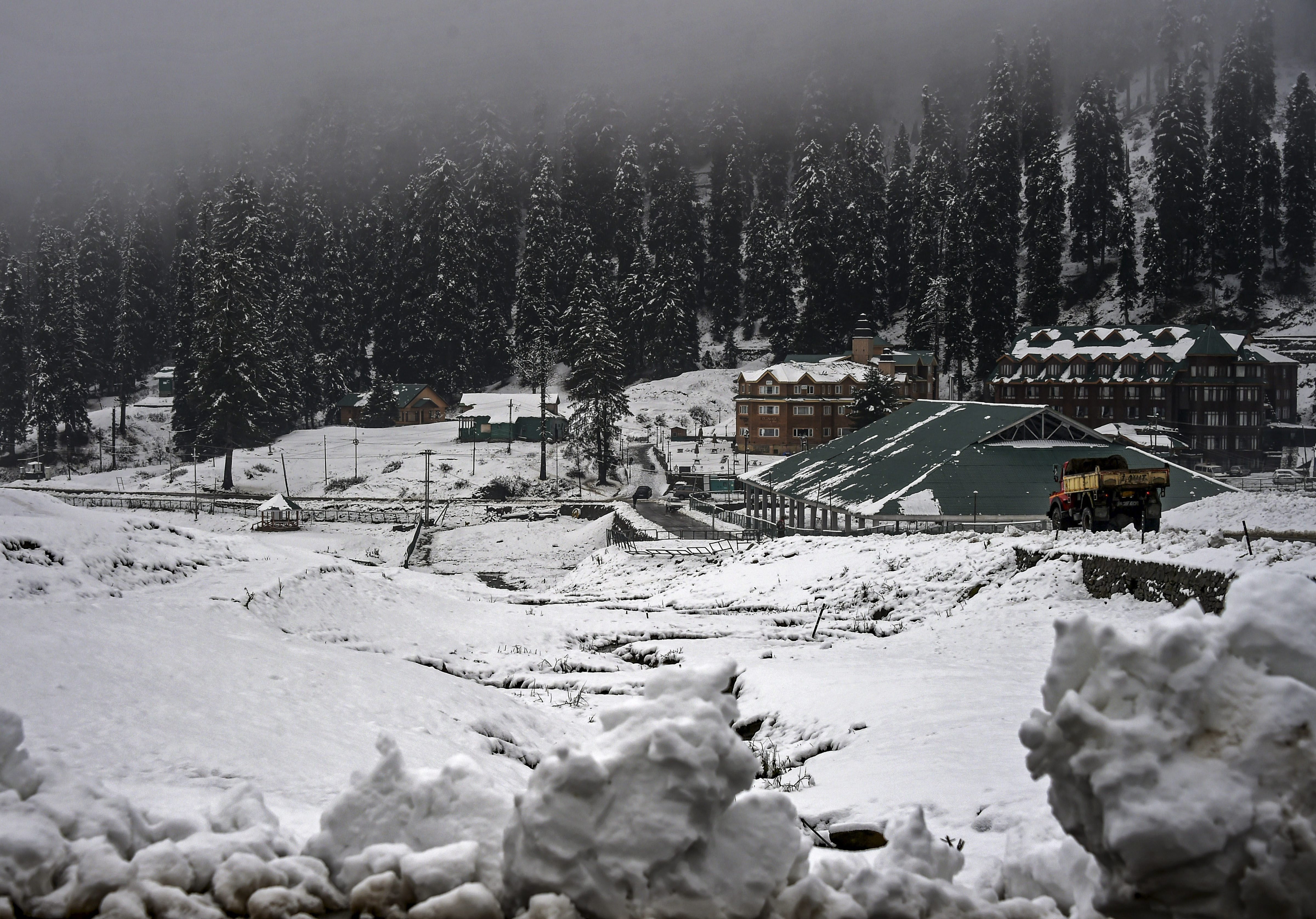 A view after fresh snowfall at the famous ski resort of Gulmarg in Baramulla District of North Kashmir - PTI