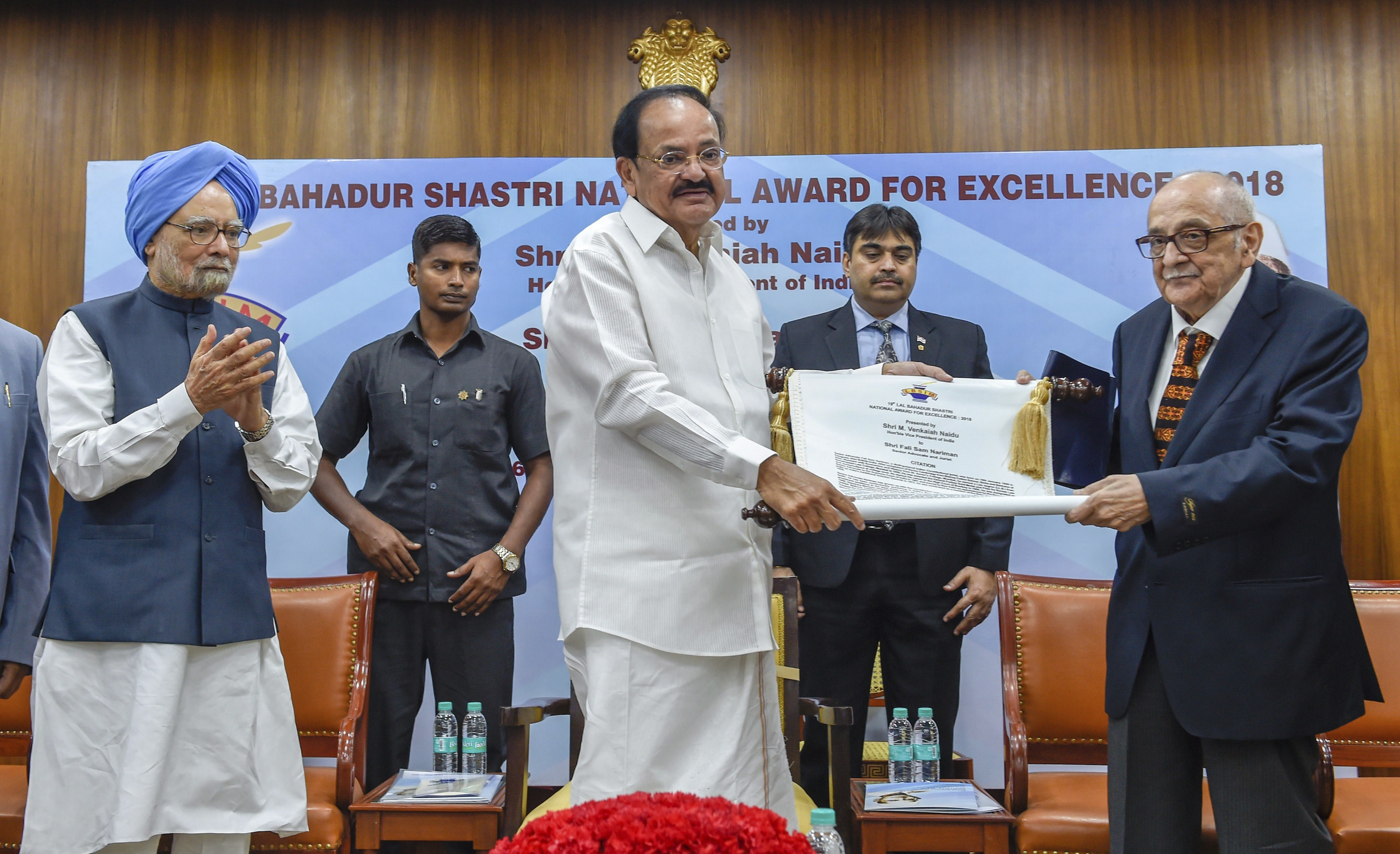 Vice President M Venkaiah Naidu presents 19th Lal Bahadur Shastri National Awards for Excellence 2018 to veteran jurist Fali S. Nariman as former prime minister Manmohan Singh looks on, during a ceremony in New Delhi - PTI