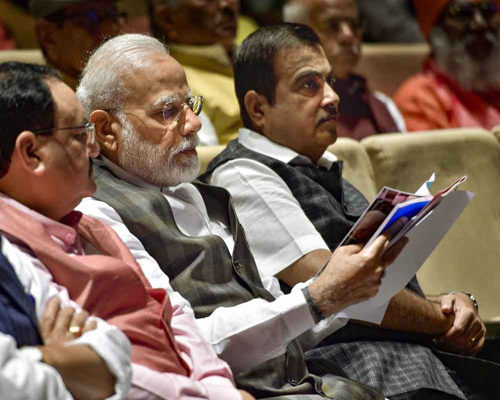 Prime Minister Narendra Modi (C), BJP National President JP Nadda (L) and Union Minister Nitin Gadkari during the BJP Parliamentary Party meeting at Parliament House, in New Delhi - PTI