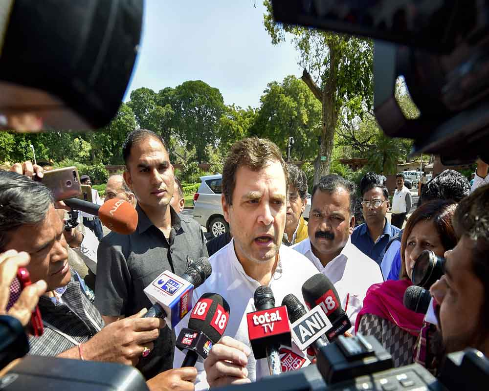 Congress leader Rahul Gandhi speaks to media persons at Parliament during the ongoing Budget Session, in New Delhi - PTI