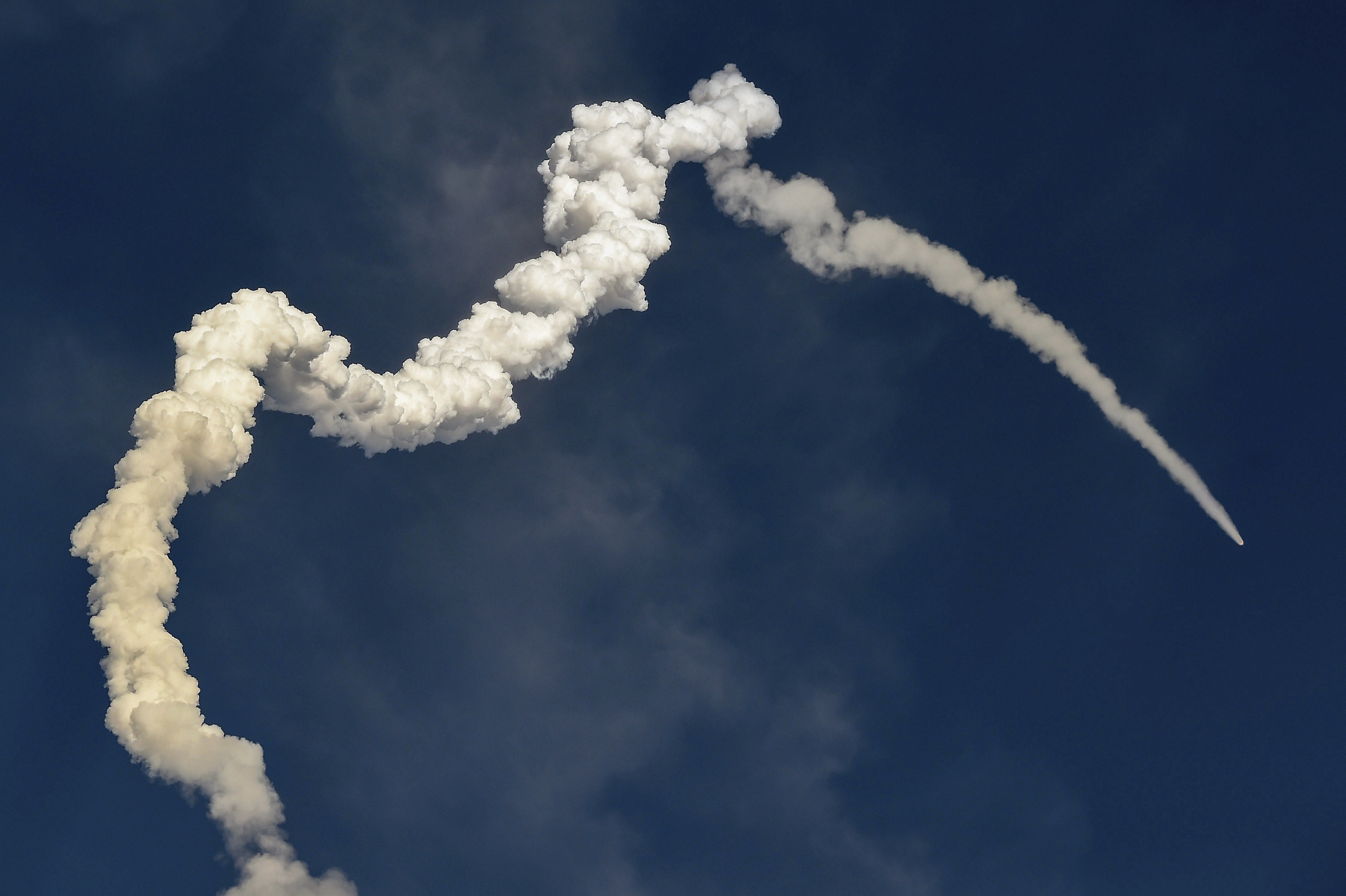 A smoke trail left by ISRO's GSLV-MkIII D2 mission carrying high throughput communication satellite GSAT-29 takes off from Satish Dhawan Space Centre, in Sriharikota - PTI