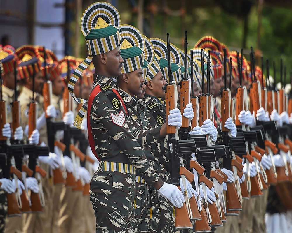 Contingents of armed police forces participate in the full dress rehearsal for the Independence Day parade at Fort St. George in Chennai - PTI