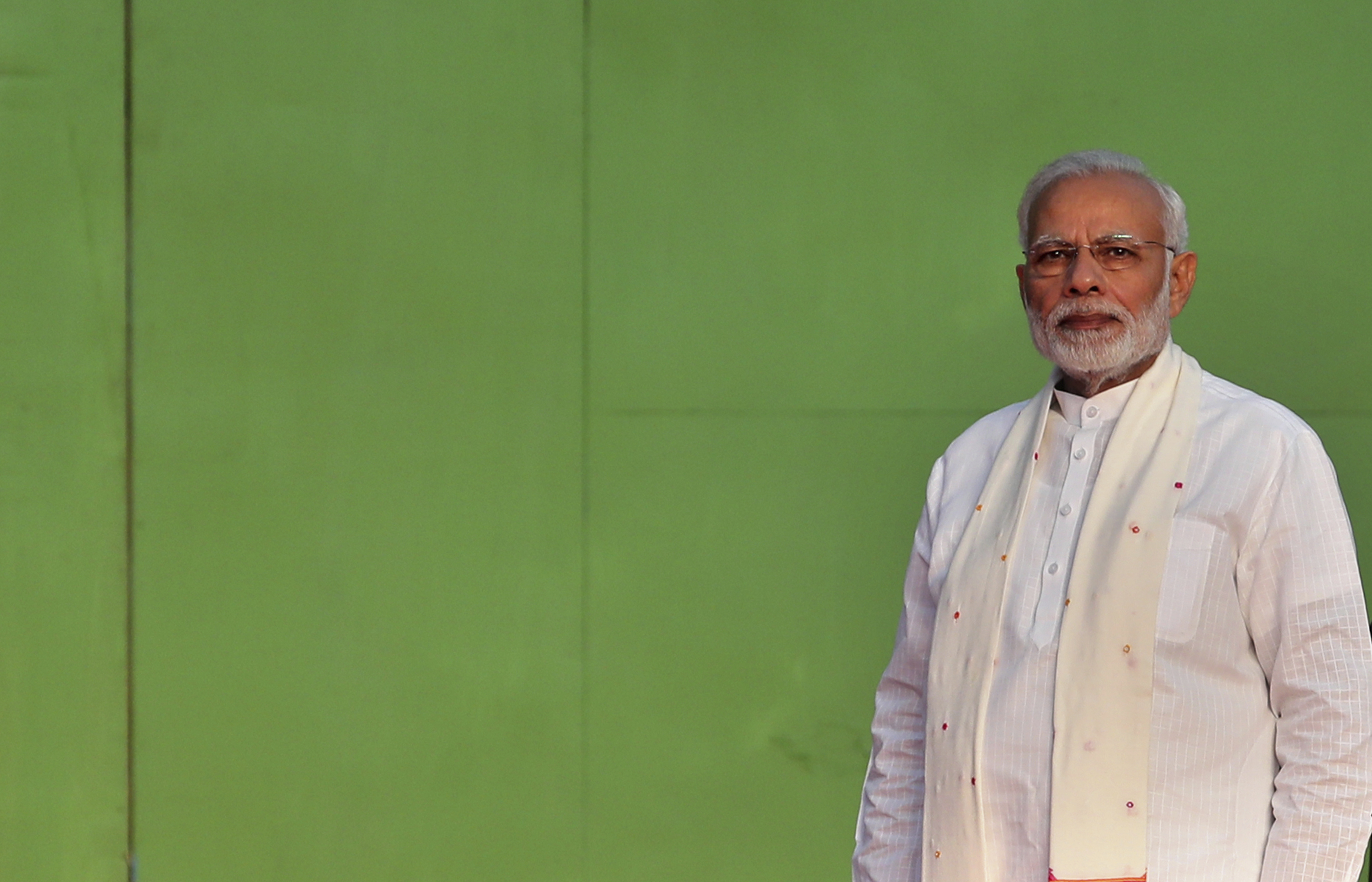 Indian Prime Minister Narendra Modi attends a function to mark the end of Dussehra festival in New Delhi, India - AP
