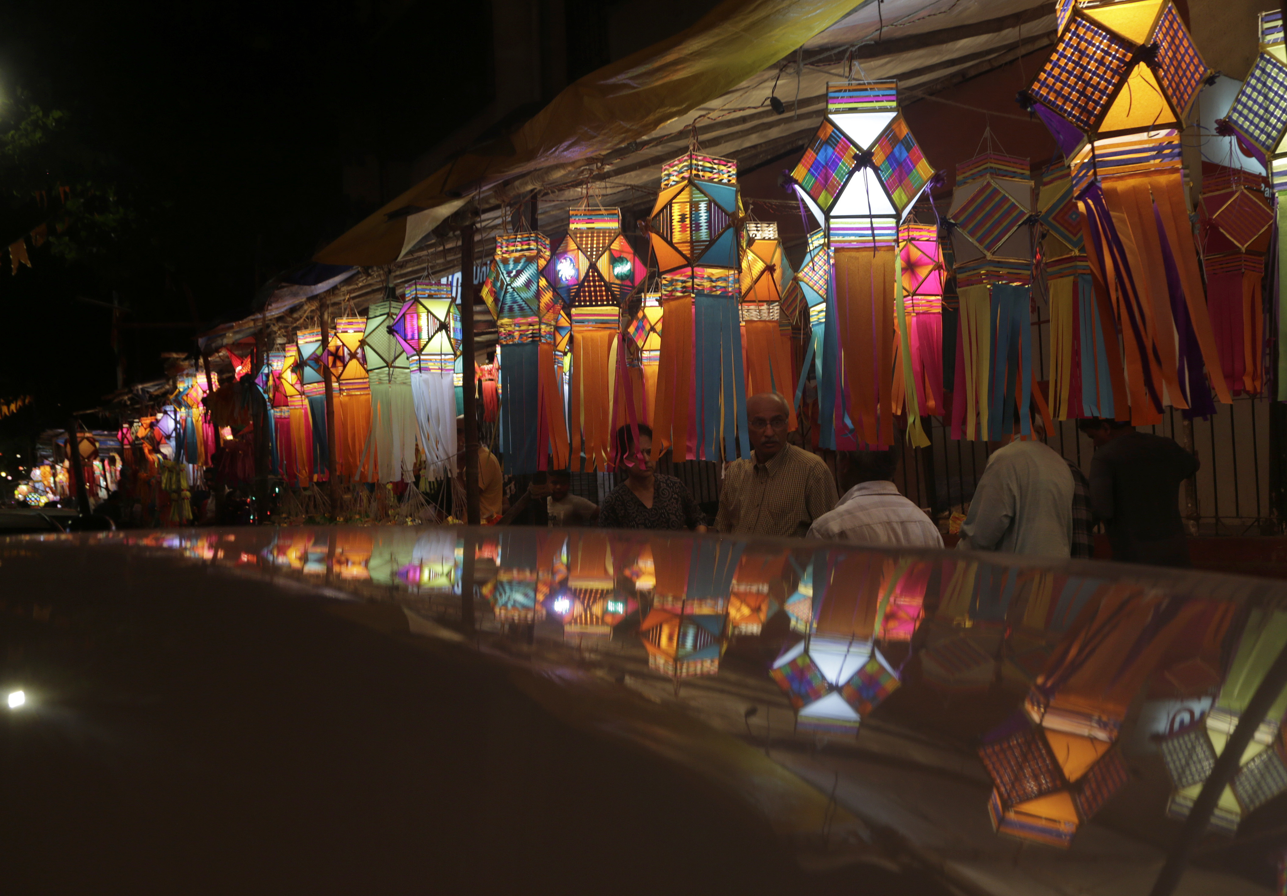 Lanterns are displayed on a street for sale in Mumbai - AP