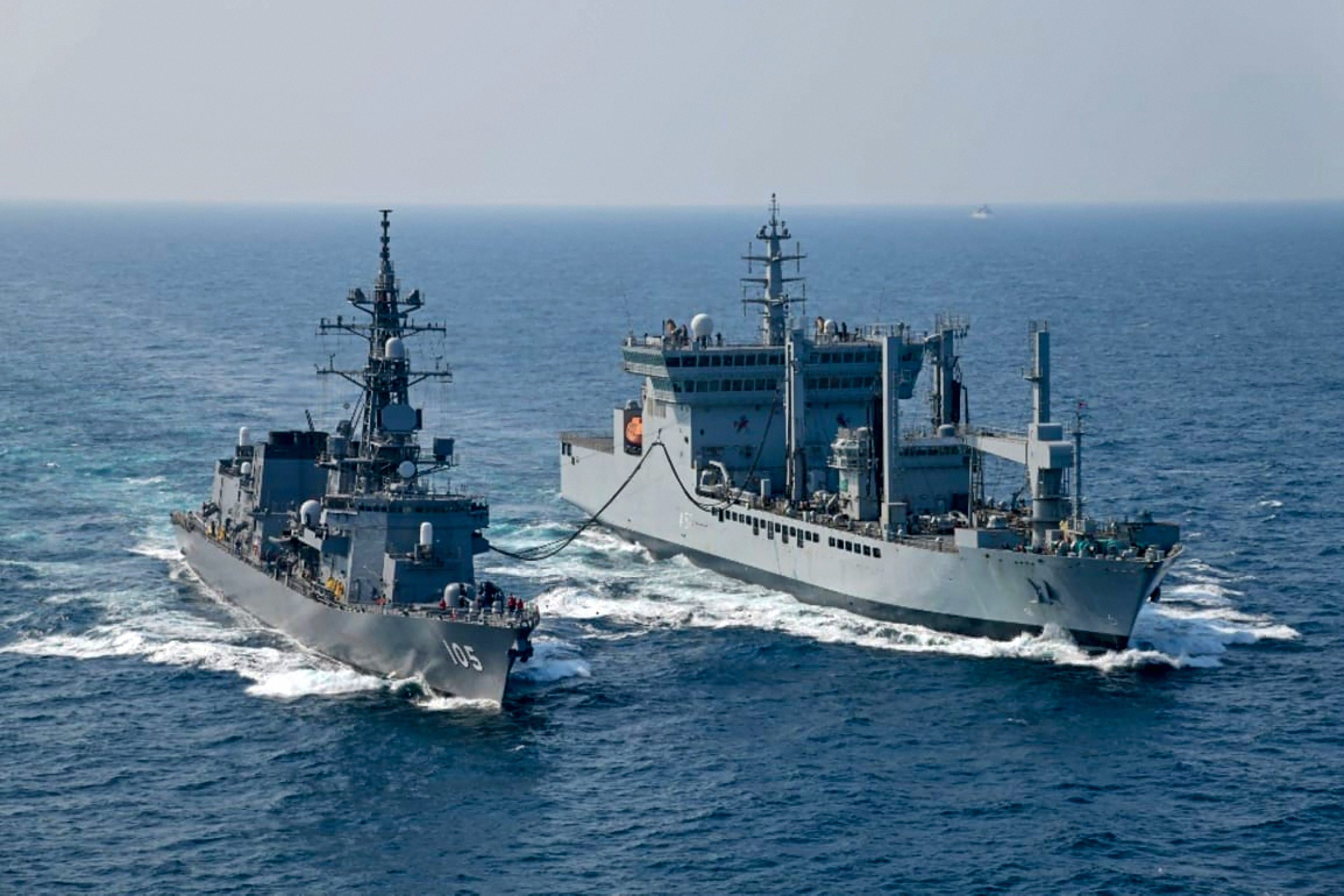 The sea phase of Japan India Maritime Exercise (JIMEX) in progress in the Bay of Bengal - PTI