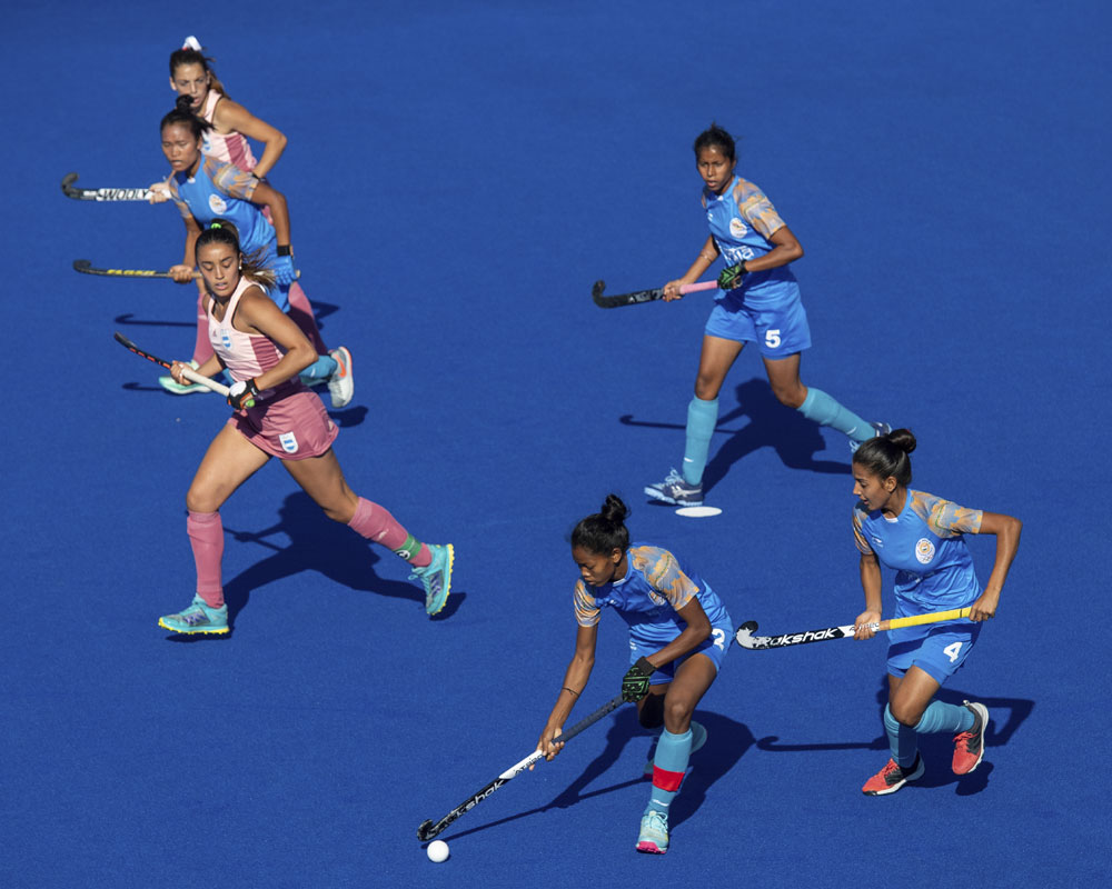 India's Salima Tete controls the ball during the Women's Gold Medal field hockey match at the Youth Olympic Games in Buenos Aires - AP