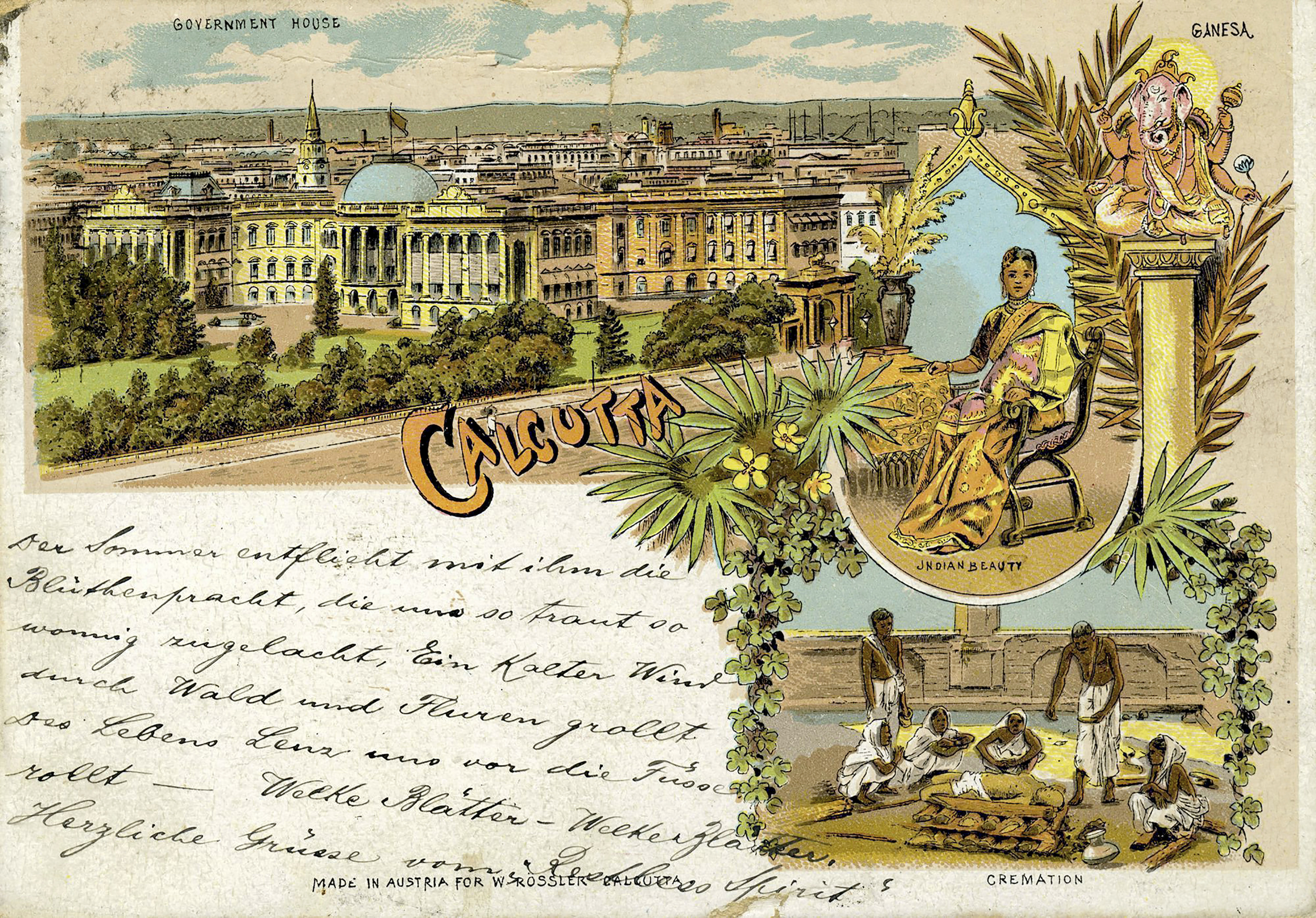 Postcard dating 1890s, shared by Art Heritage Gallery, where it is on display as part of an exhibition of rare vintage postcards, in New Delhi - PTI