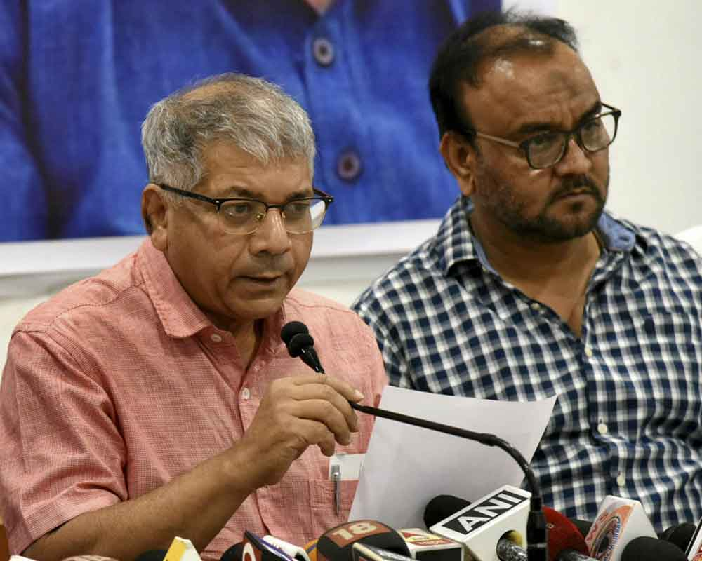 B R Ambedkar's grandson and Dalit leader Prakash Ambedkar interacts with media during a press conference in Nagpur - PTI