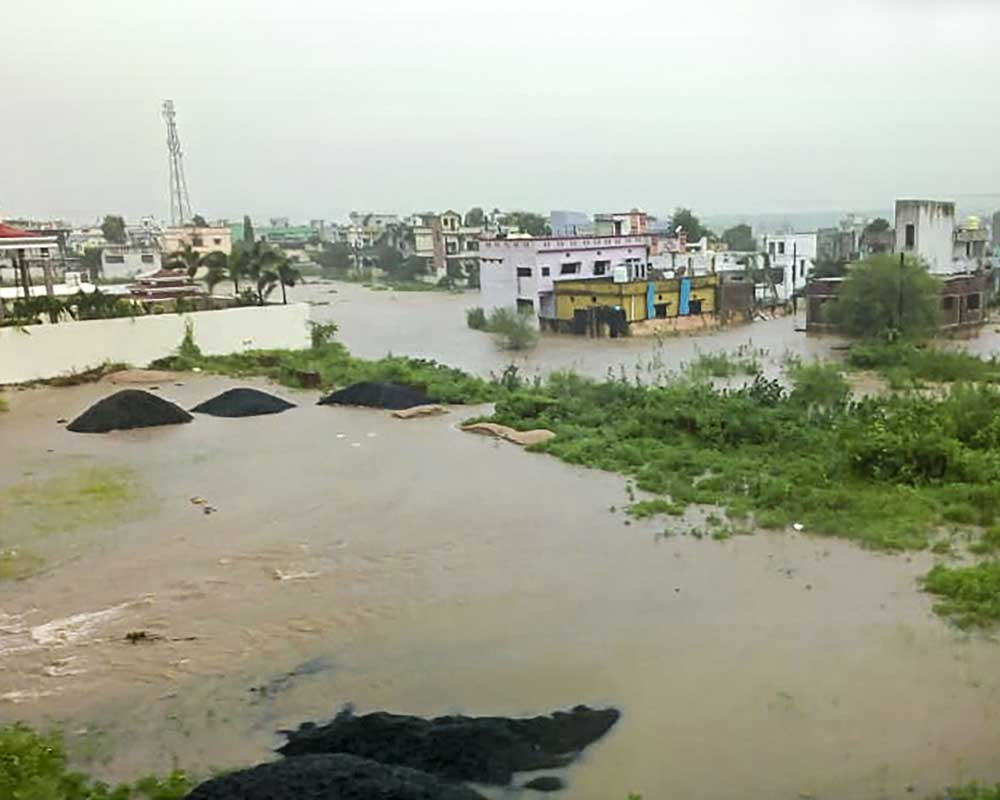 A view of a flood-hit area after heavy monsoon rains, in Gadchiroli district of Maharashtra - PTI