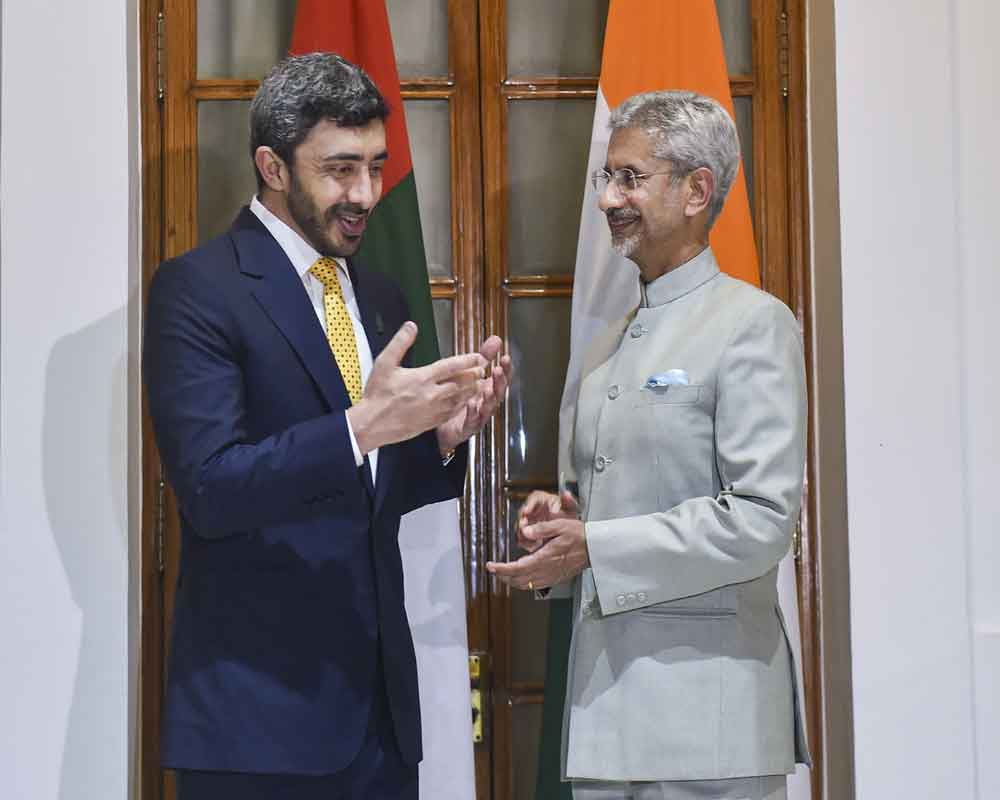 External Affairs Minister S Jaishankar exchanges gestures with Minister of Foreign Affairs and International Cooperation, United Arab Emirates, Sheikh Abdullah Bin Zayed Al Nahyan prior to a meeting, in New Delhi - PTI