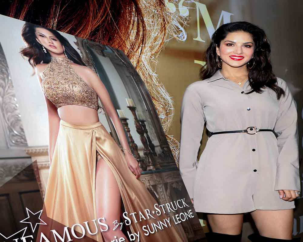 Bollywood actress Sunny Leone during the unveiling of India Licensing Expo 2019 at Bombay Exhibtion Centre in Mumbai - PTI