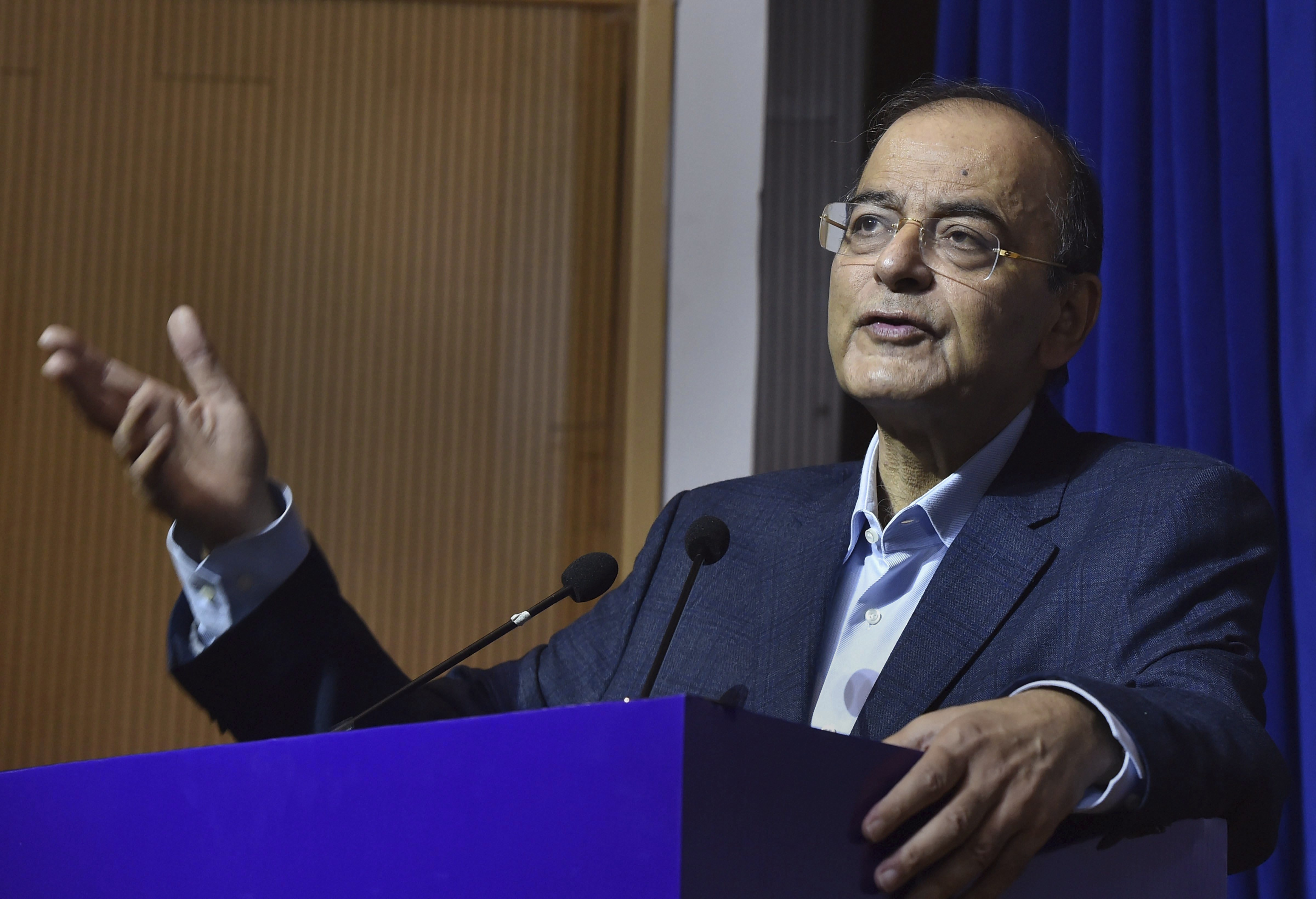 Finance Minister Arun Jaitley speaks during the 61st foundation day of Directorate of Revenue Intelligence (DRI) at Ambedkar International Centre, in New Delhi - PTI