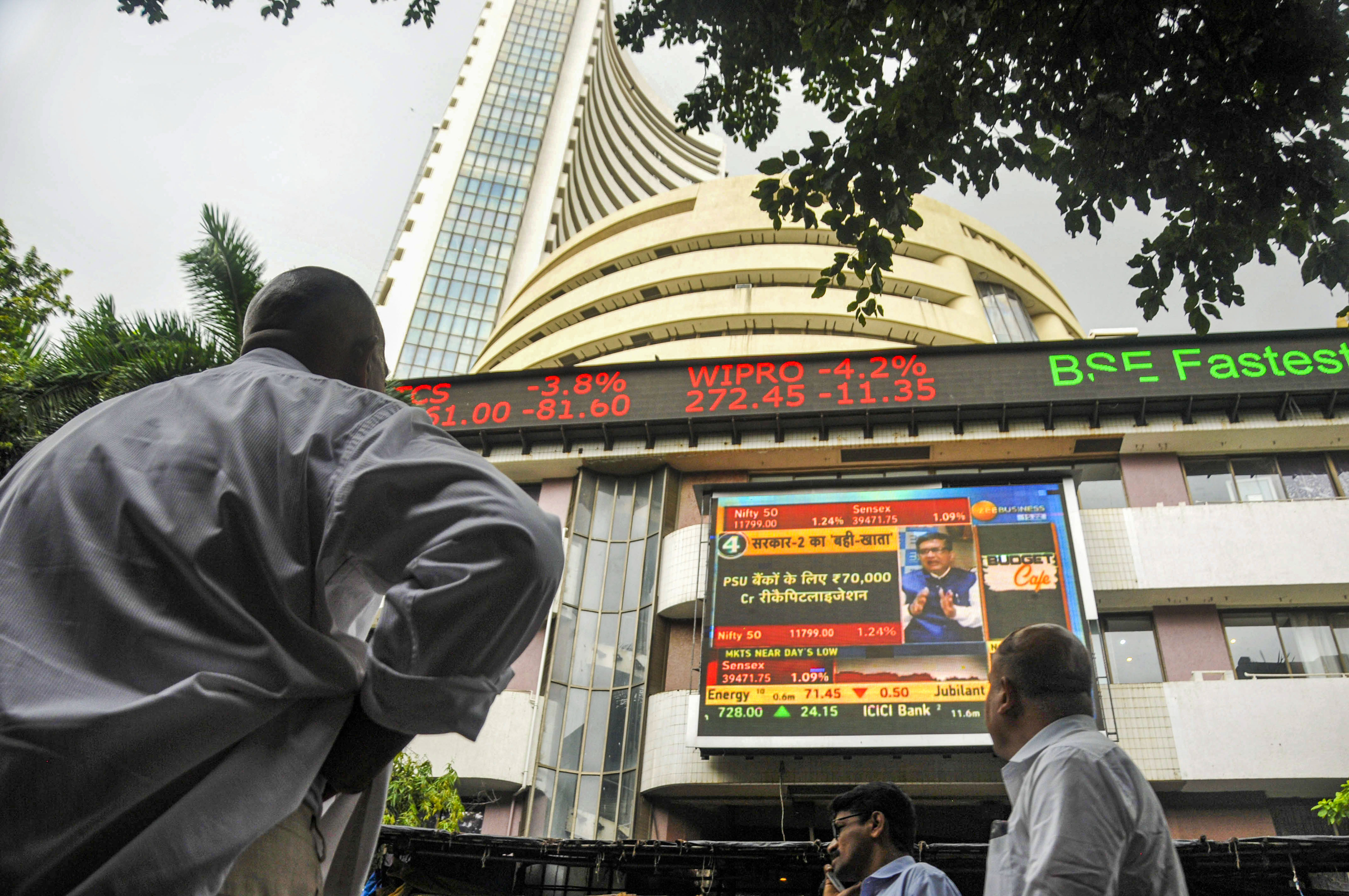 The stock market index on a display screen at the Bombay Stock Exchange (BSE) building in Mumbai - PTI