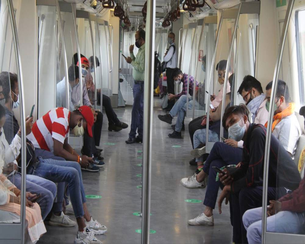 The Delhi Metro resumed services nearly three weeks in view of the improved Covid situation in the capital but with 50 per cent seating capacity and no provision for standing travel for commuters, in New Delhi on Monday 07 June 2021. - IANS