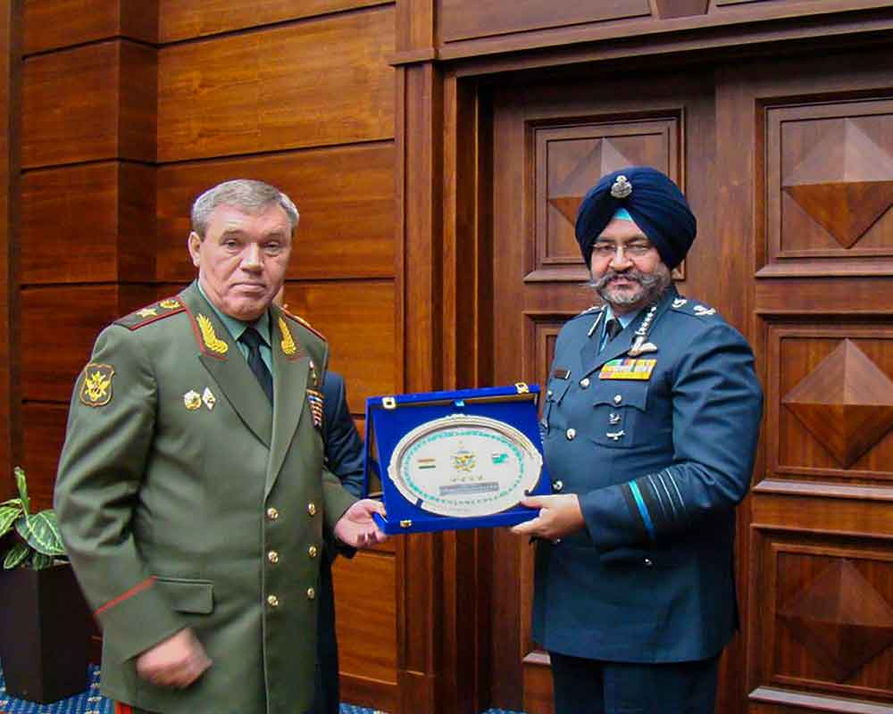 Indian Air Force (IAF) chief Birender Singh Dhanoa meets Chief of General Staff  General Valery Vasiliyevich Gerasimov during his four-day bilateral visit to Russia - PTI