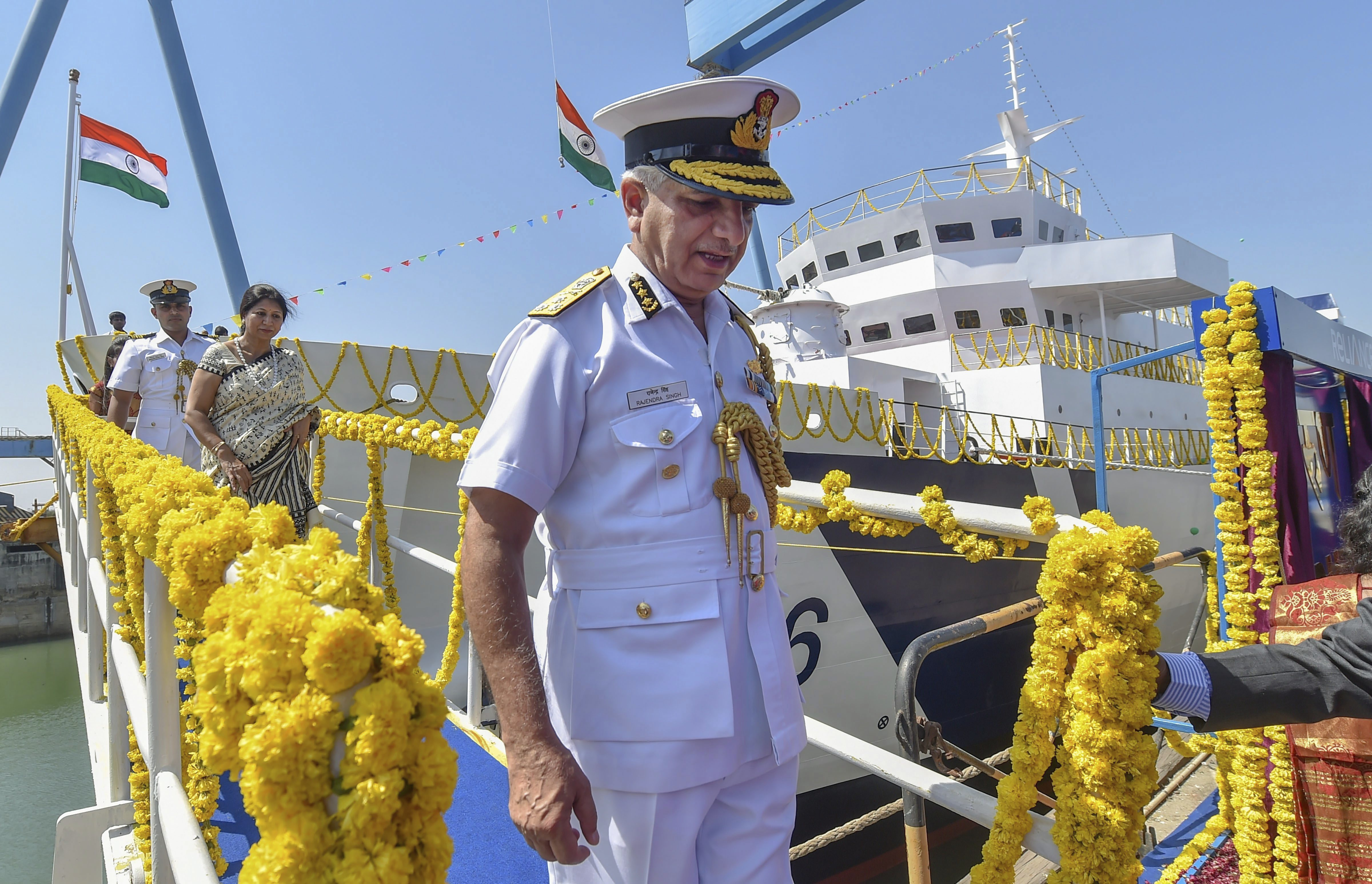 Director General Indian Coast Guard Rajendra Singh, PTM, TM during the launch of ICGS 'Varuna', an indigenously-designed training vessel built by Reliance Naval and Engineering Limited for the Indian Coast Guard at Pipavav Shipyard - PTI