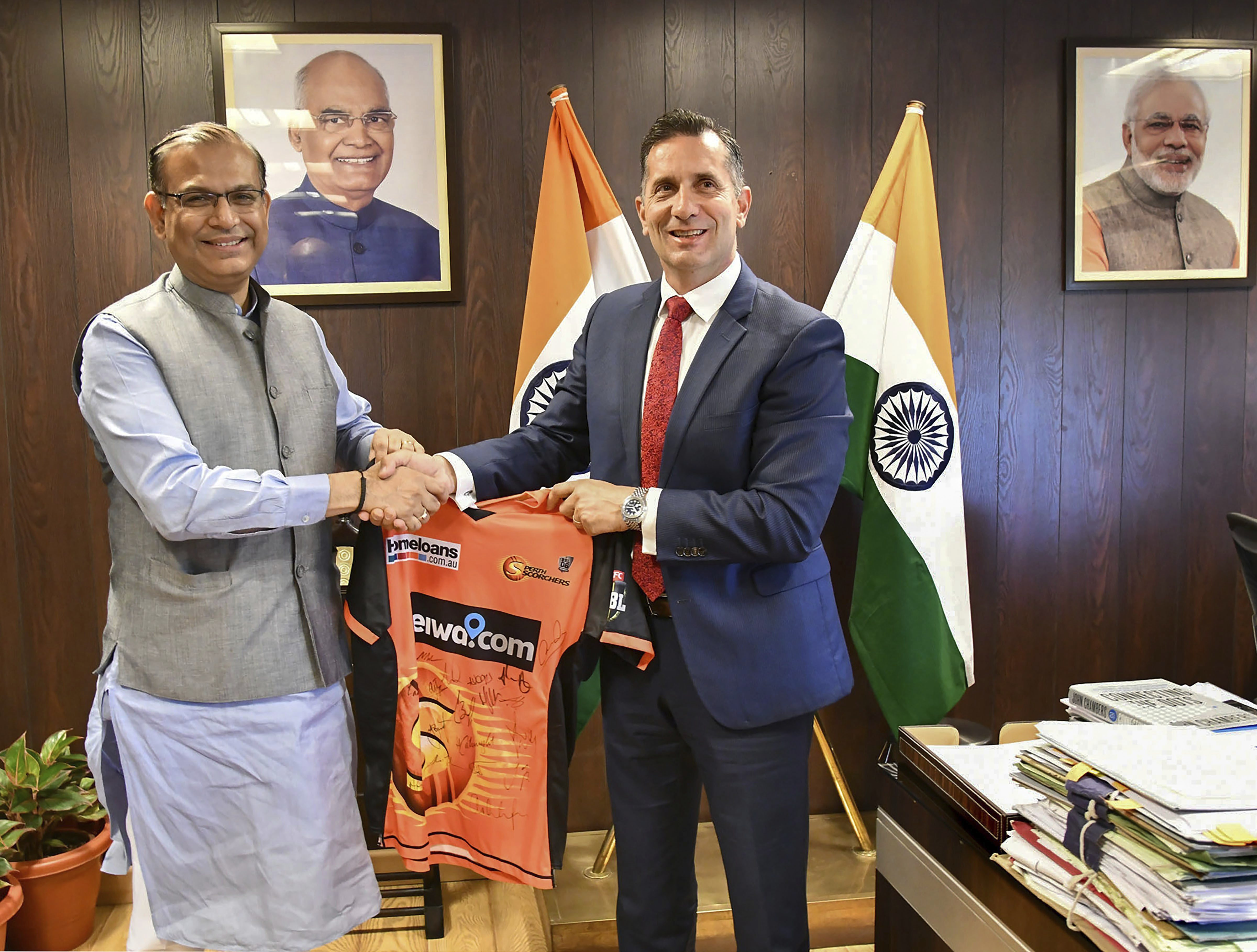Minister of State for Civil Aviation Jayant Sinha with Western Australian Tourism Minister Paul Papalia at a meeting in New Delhi - PTI