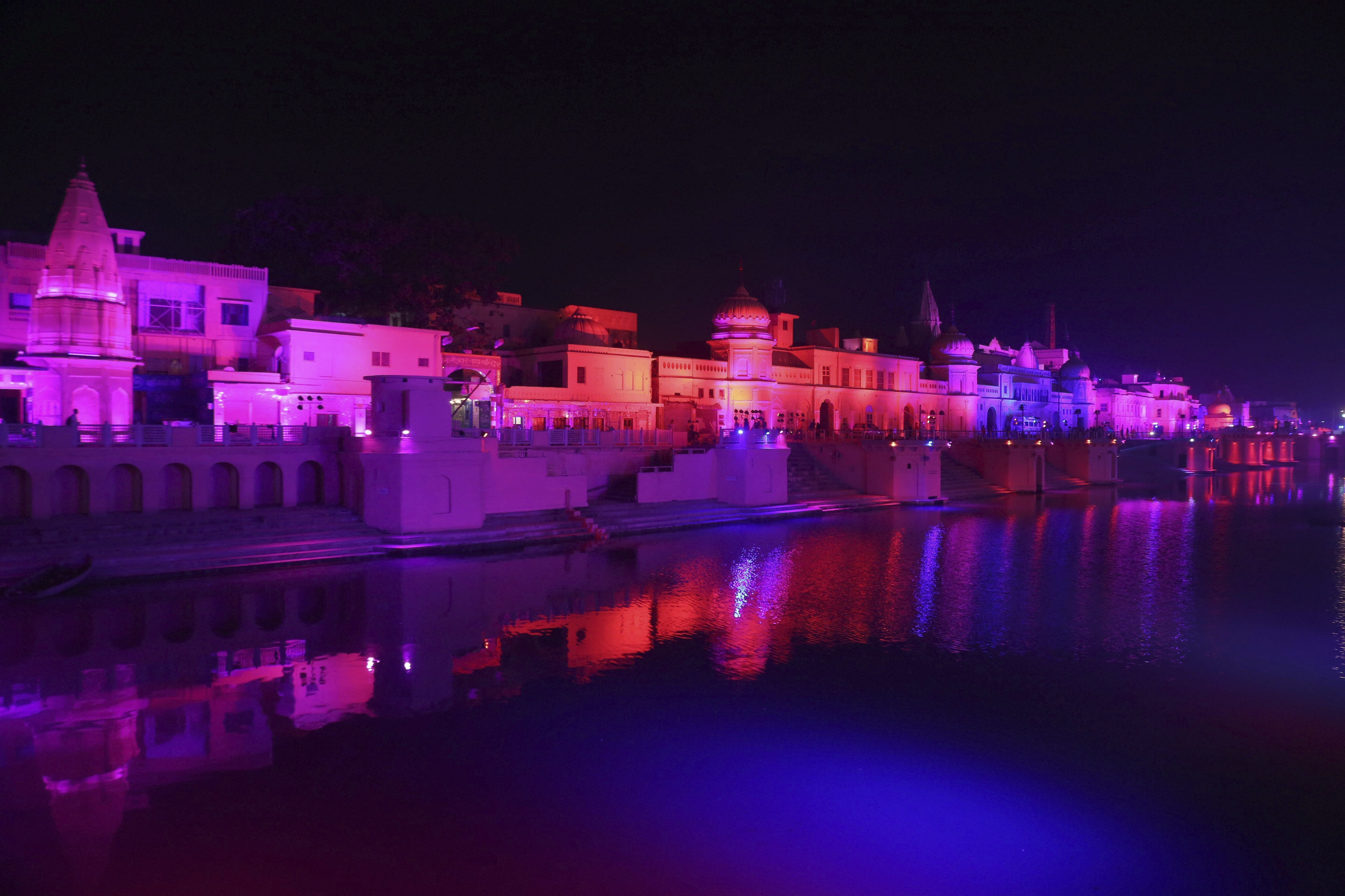 Ghats are lit on the banks of River Saryu ahead of Deepotsav (Diwali celebrations) in Ayodhya - PTI