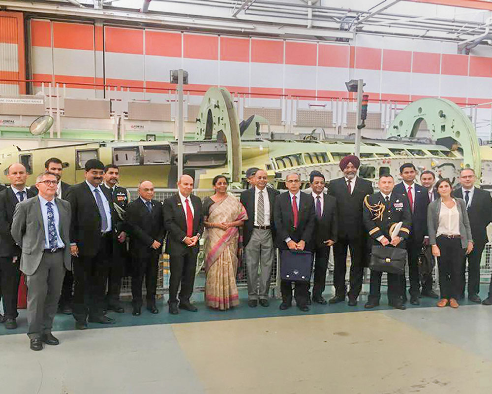 Defence Minister Nirmala Sitharaman during a visit to a production facility of French aerospace major Dassault Aviation near Paris - PTI