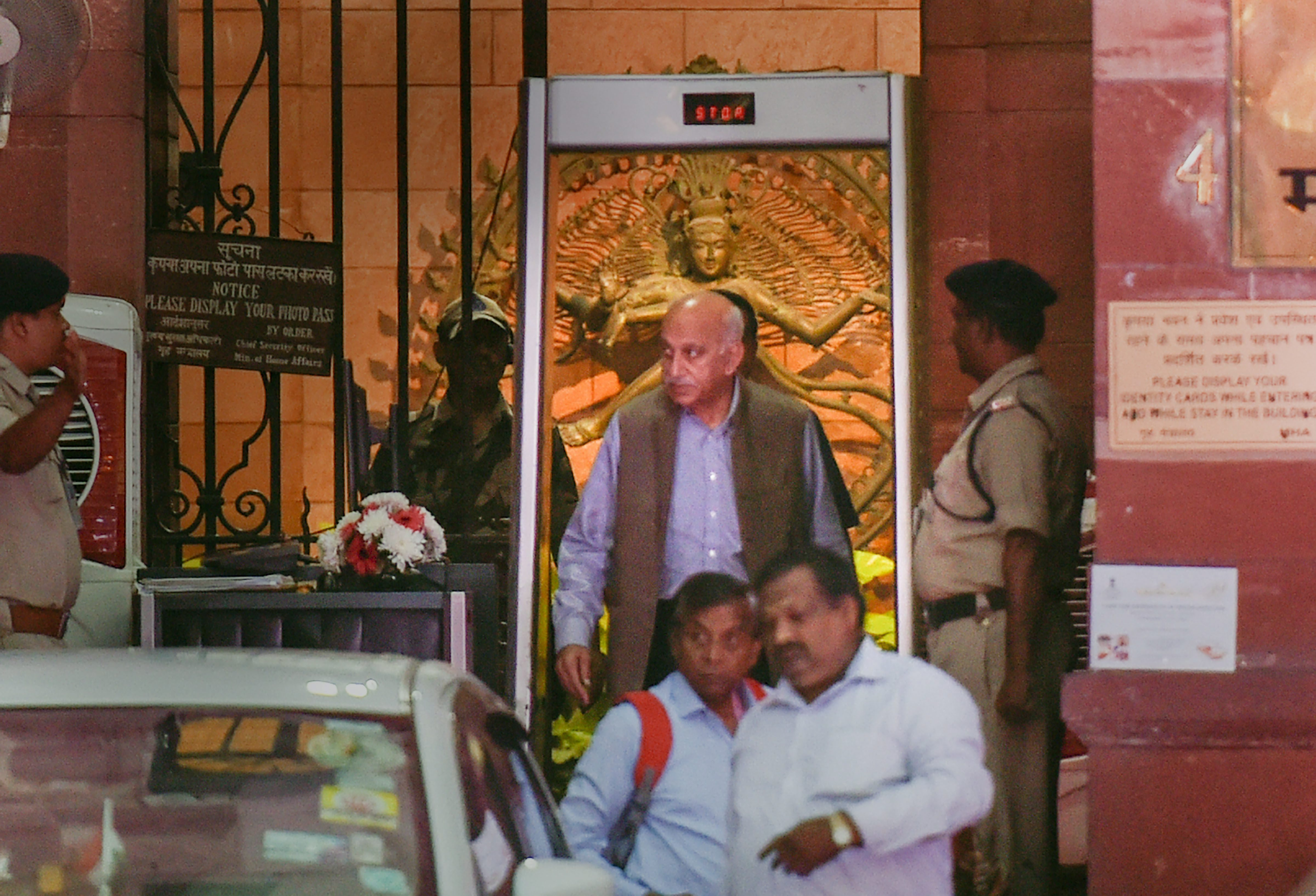 Minister of State for External Affairs MJ Akbar coming out of the MEA at South Block, in New Delhi - PTI