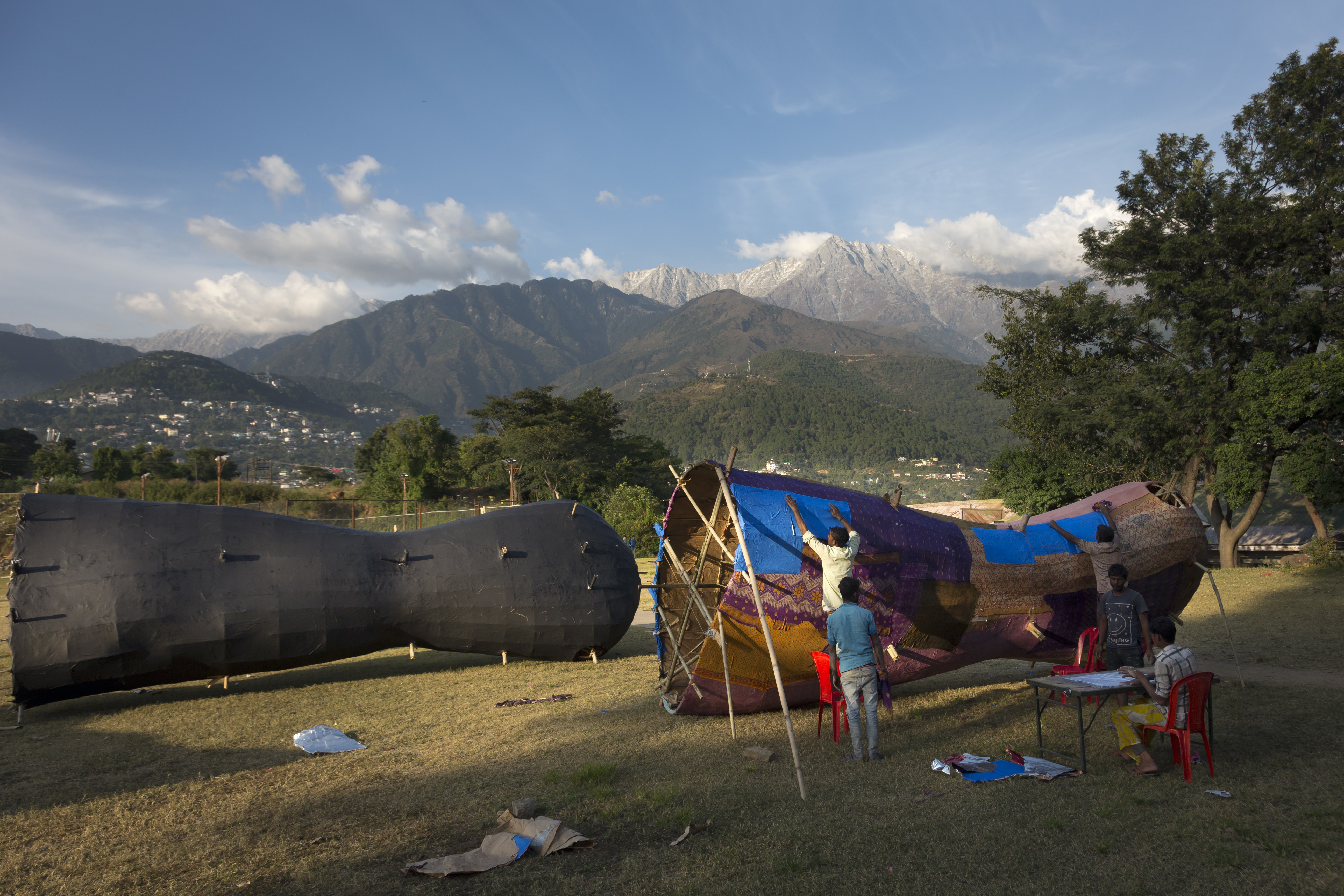 Artisans prepare an effigy for the upcoming Hindu festival Dussehra in Dharmsala, India - AP