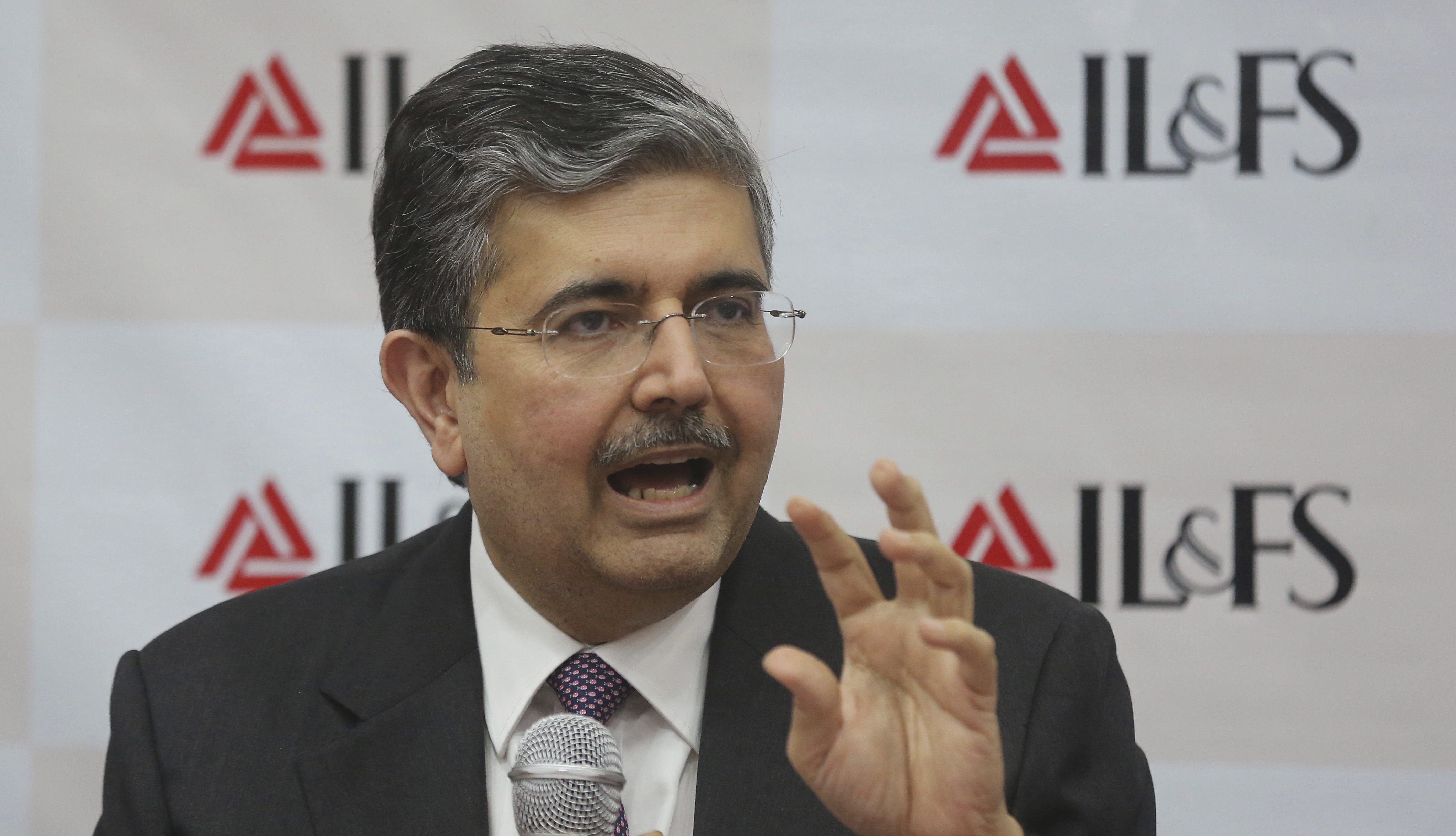 Uday Kotak, non executive chairman of the newly constituted board for Infrastructure Leasing & Financial Services (IL&FS) address a news conference in Mumbai - PTI