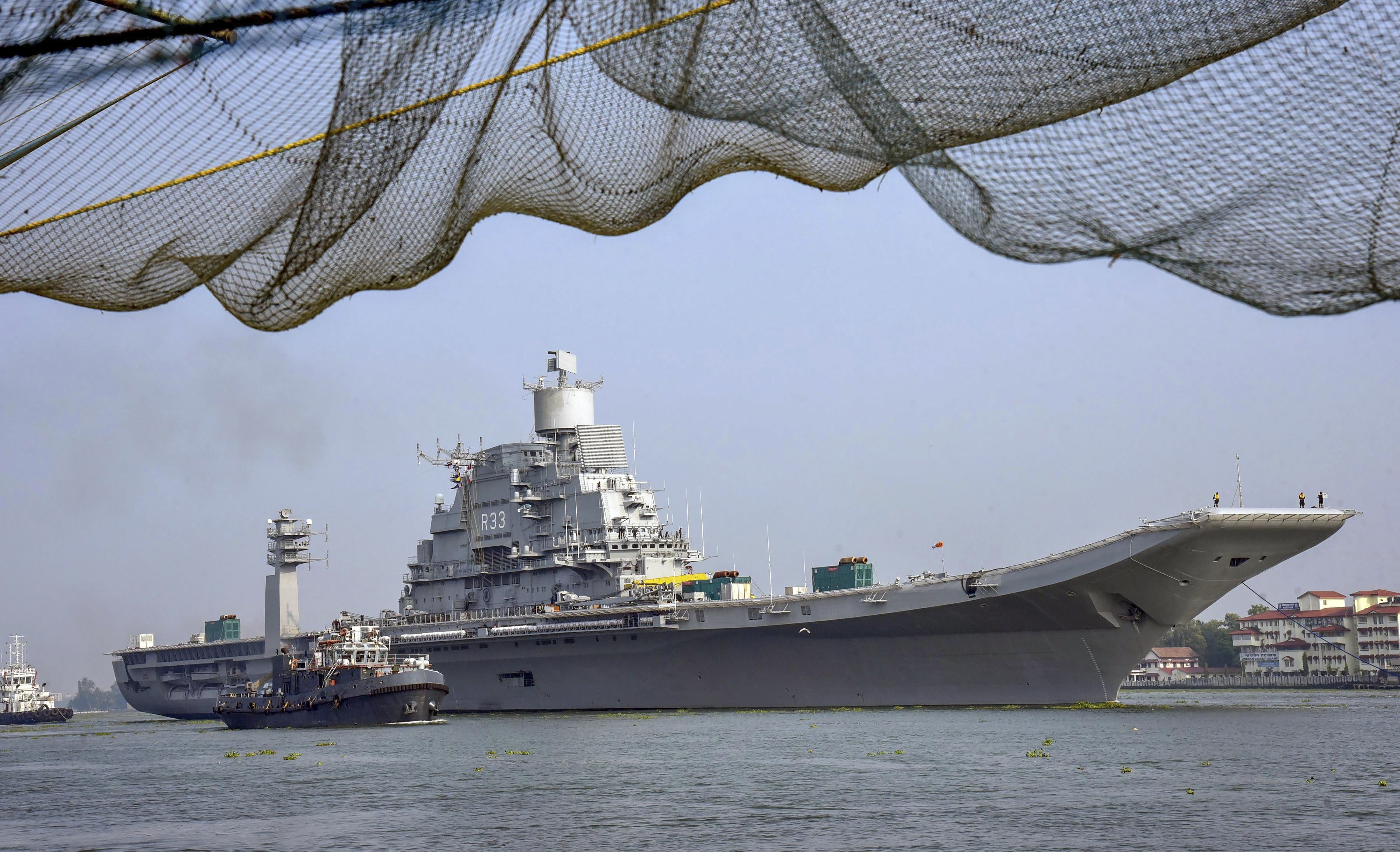 Indian Navy's only serving aircraft carrier INS Vikramaditya on its way back to the base camp at Karwar - PTI