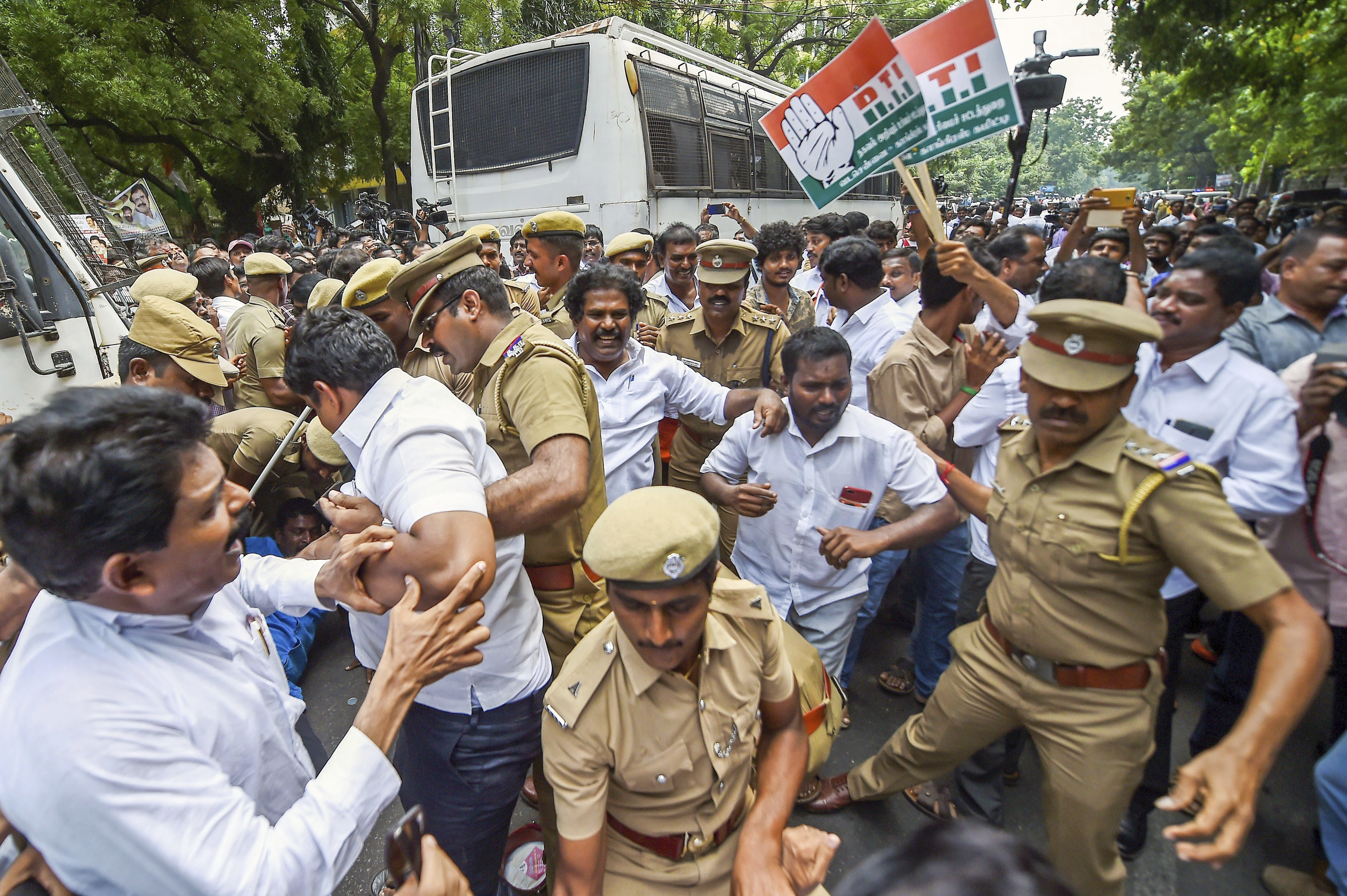 Police detain members of Tamil Nadu Congress Committee during a protest against the central government's move to divest CBI director Alok Verma of all powers and send him on leave, in Chennai - PTI