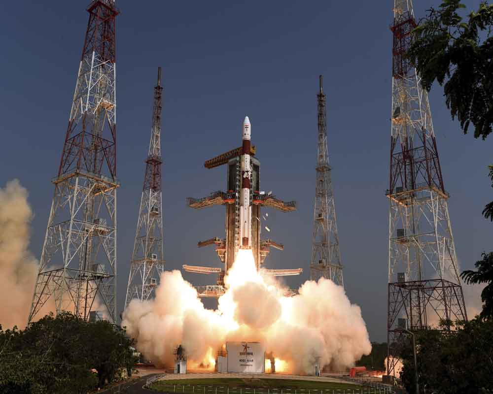 Indian Space Research Organization or ISRO, Polar Satellite Launch Vehicle (PSLV) C-45 lifts from Satish Dhawan Space Centre at Sriharikota in Andhra Pradesh state, around 117 kilometers (72 miles) northeast of Chennai - AP