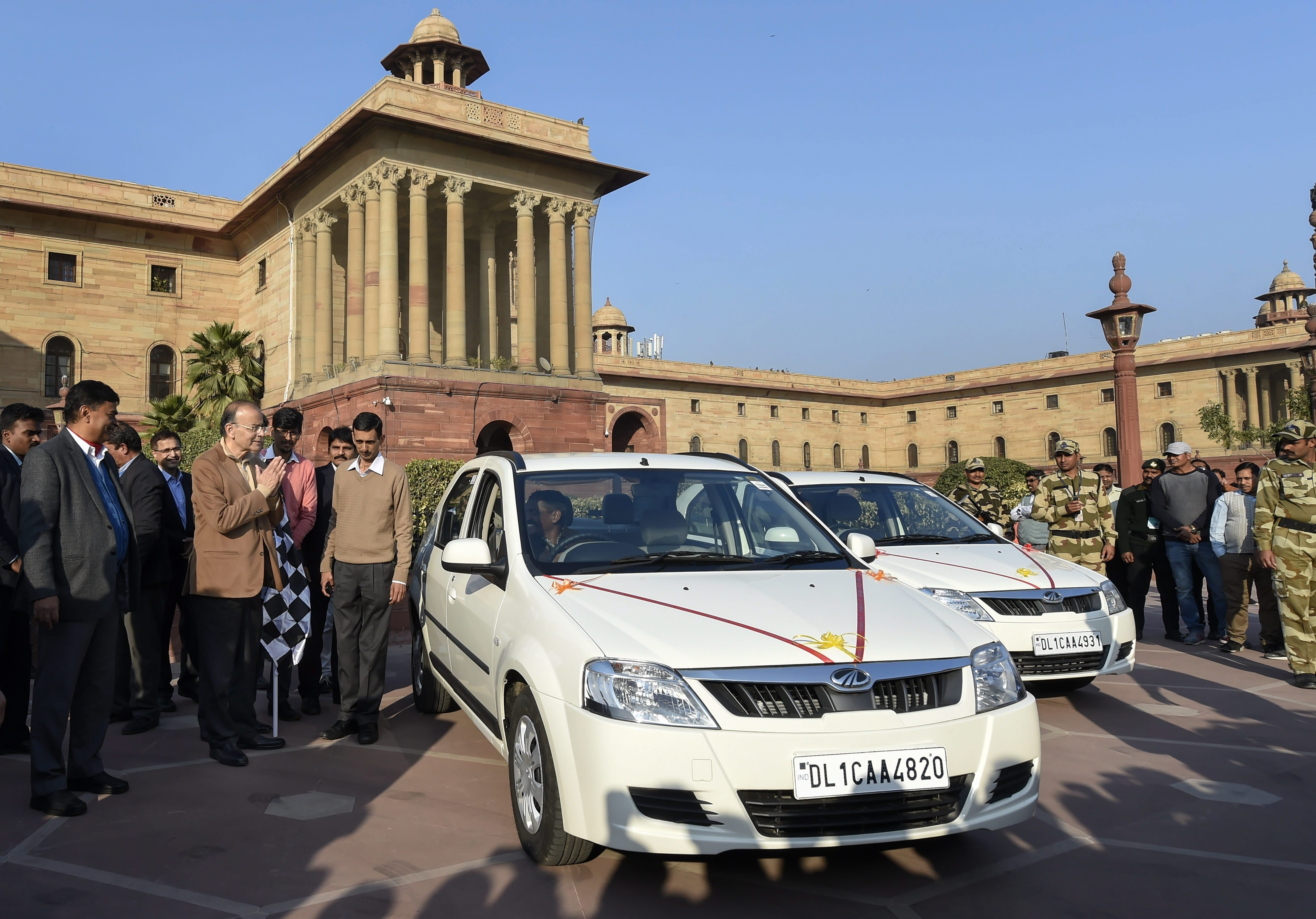 Union Finance Minister Arun Jaitley during teh launch of an e-vehicle outside Finance Ministry, in New Delhi - PTI