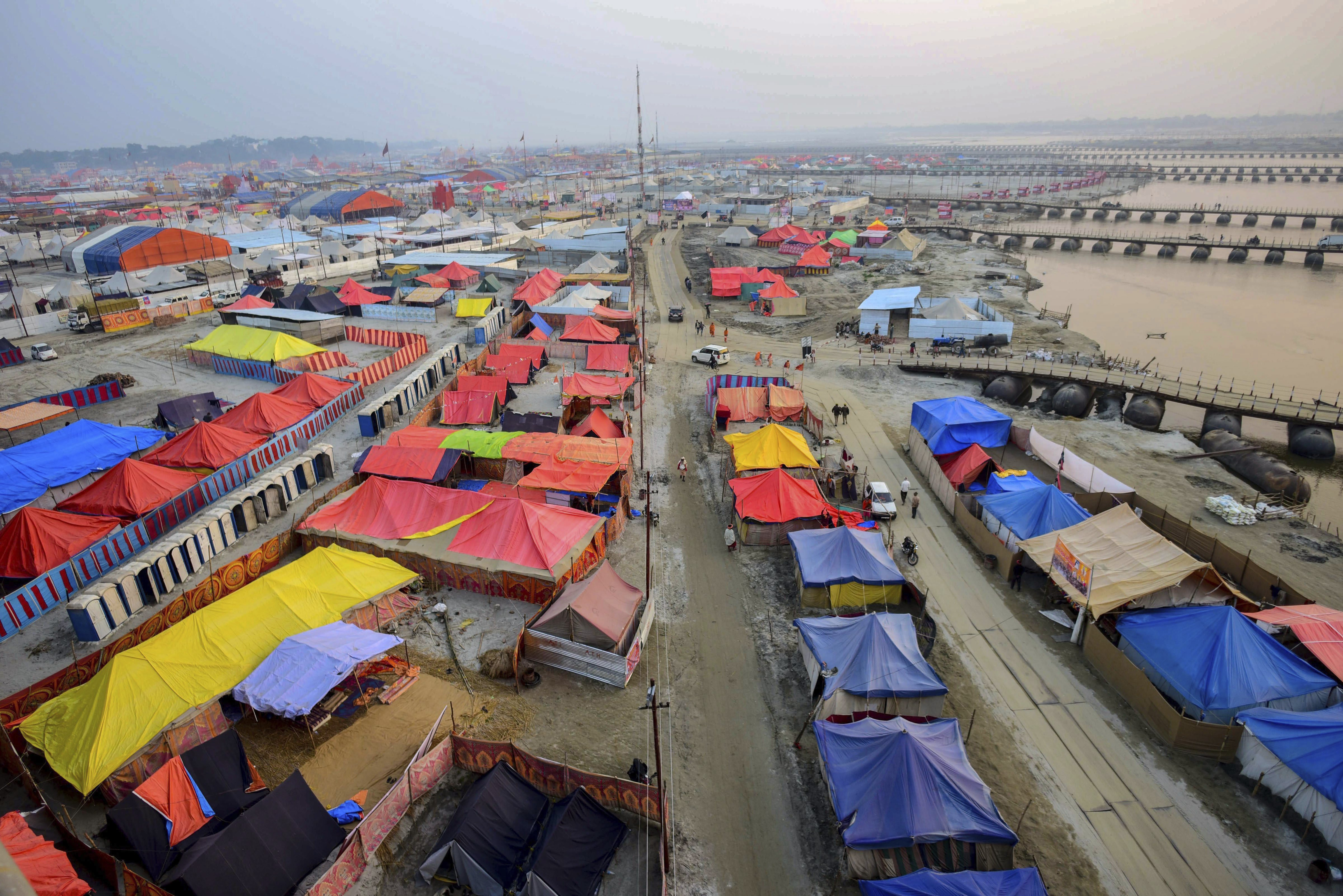 A view of temporary tents set up for devotees and visitors at the bank of river Ganga ahead of Kumbh Mela 2019, in Allahabad - PTI