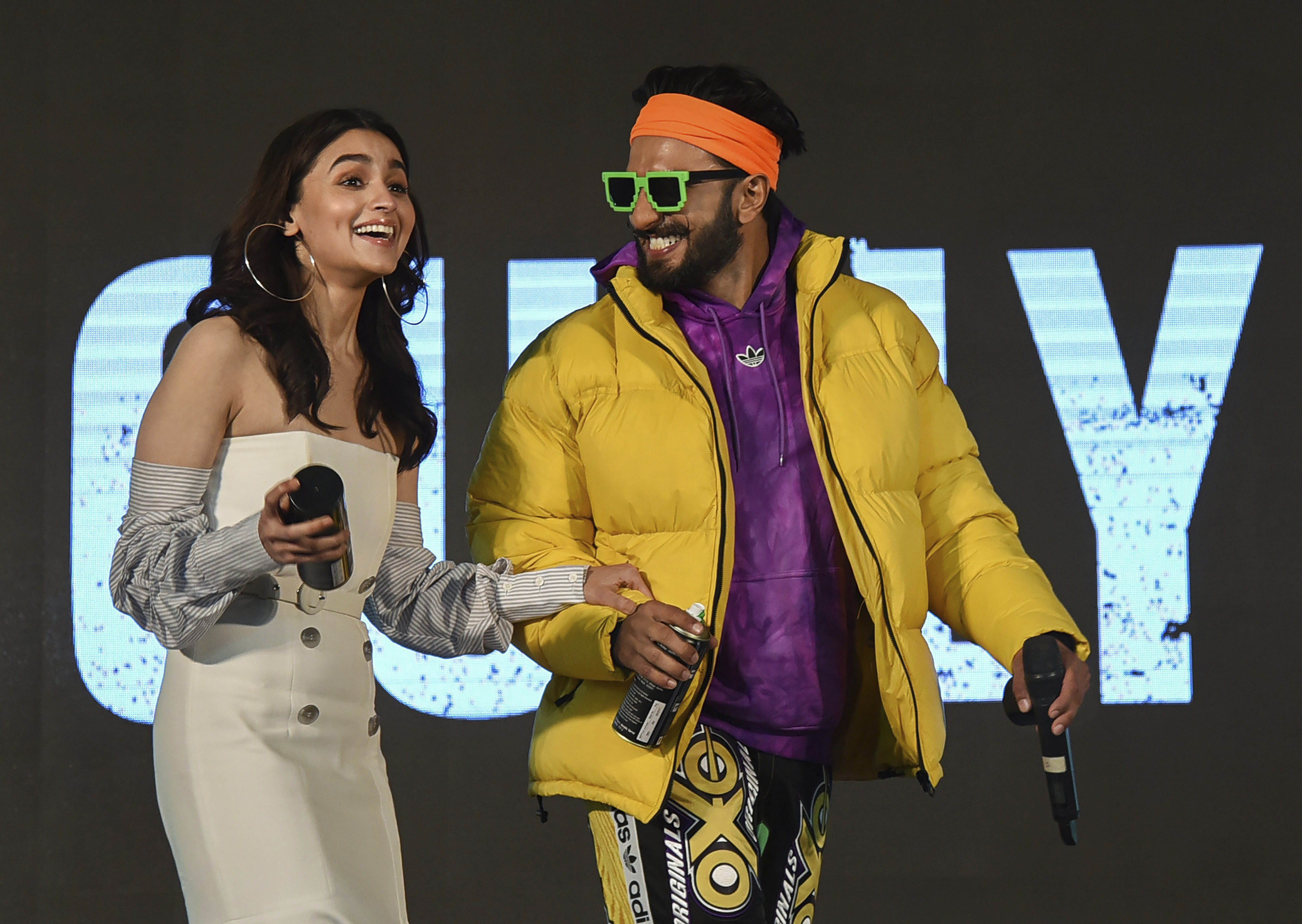 Bollywood actors Ranveer Singh and Alia Bhatt during the trailer launch of their upcoming Hindi film 'Gully Boy', directed by Zoya Akhtar, in Mumbai - PTI