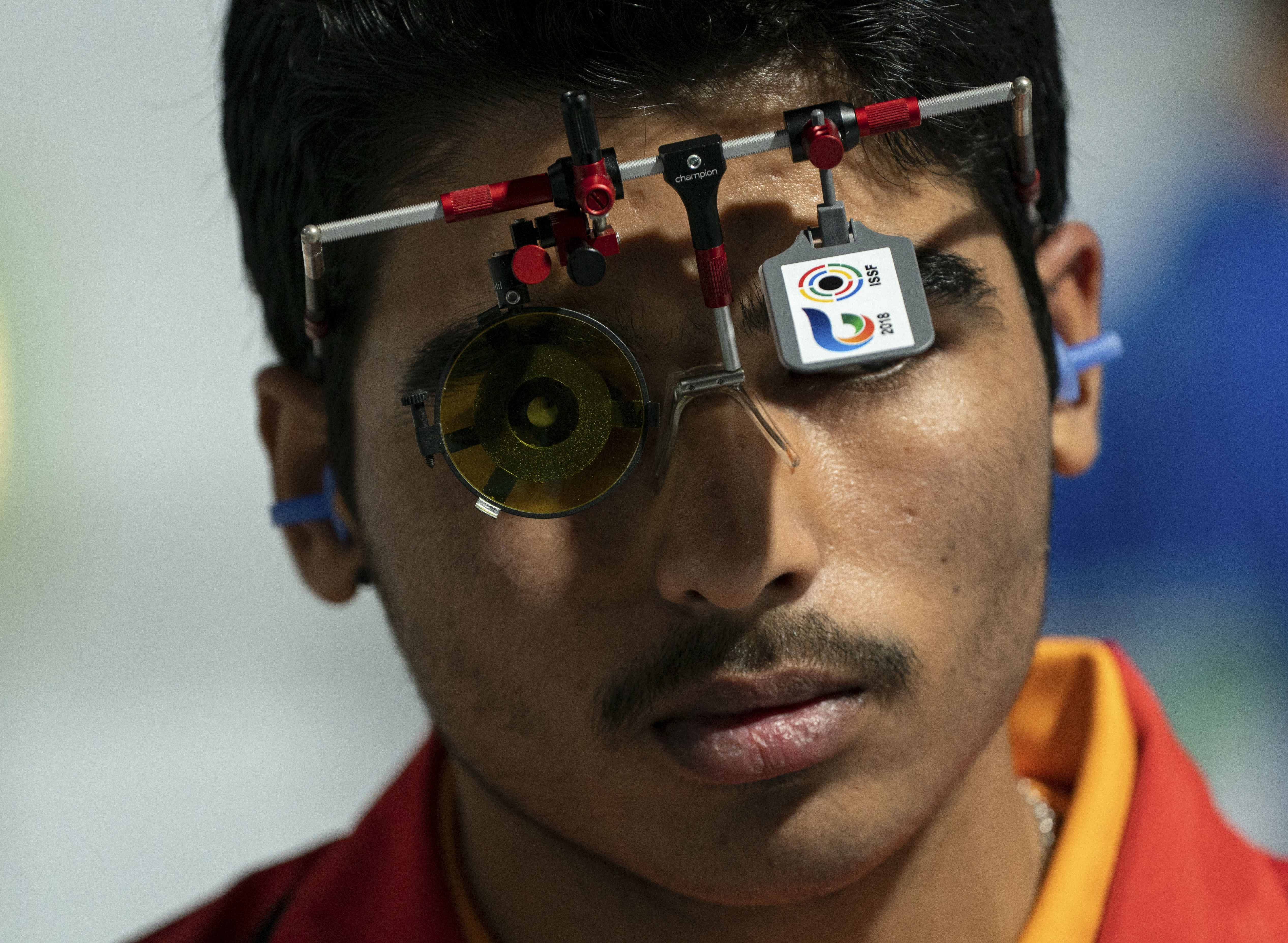 Chaudhary Saurabh from India, looks on during the shooting men's 10m air pistol final at the shooting range at Tecnopolis Park during the Youth Olympic Games in Buenos Aires, Argentina - AP