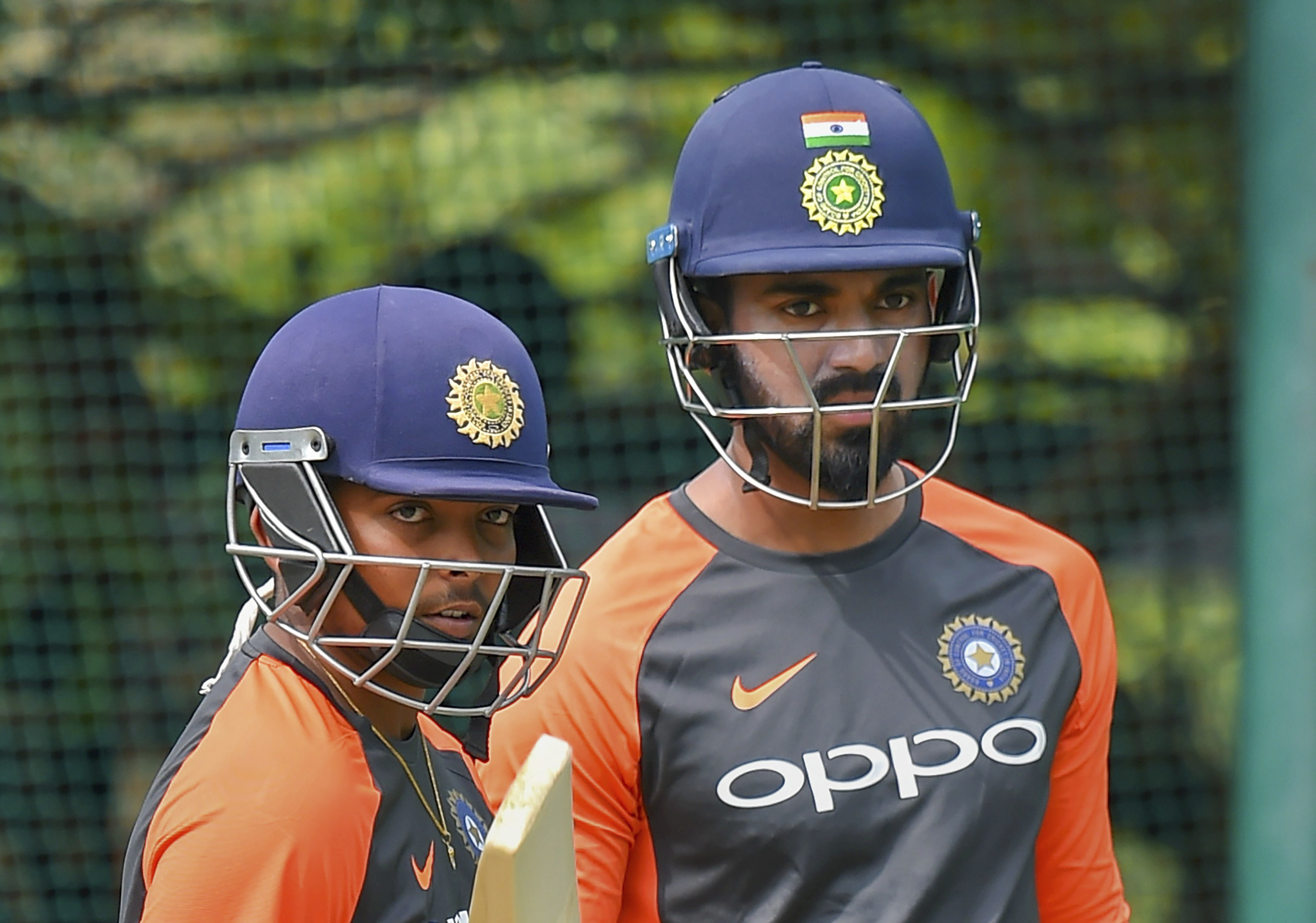 Indian cricketers Prithvi Shaw and Lokesh Rahul during a practice session ahead of India-West Indies second cricket test match, in Hyderabad - AP