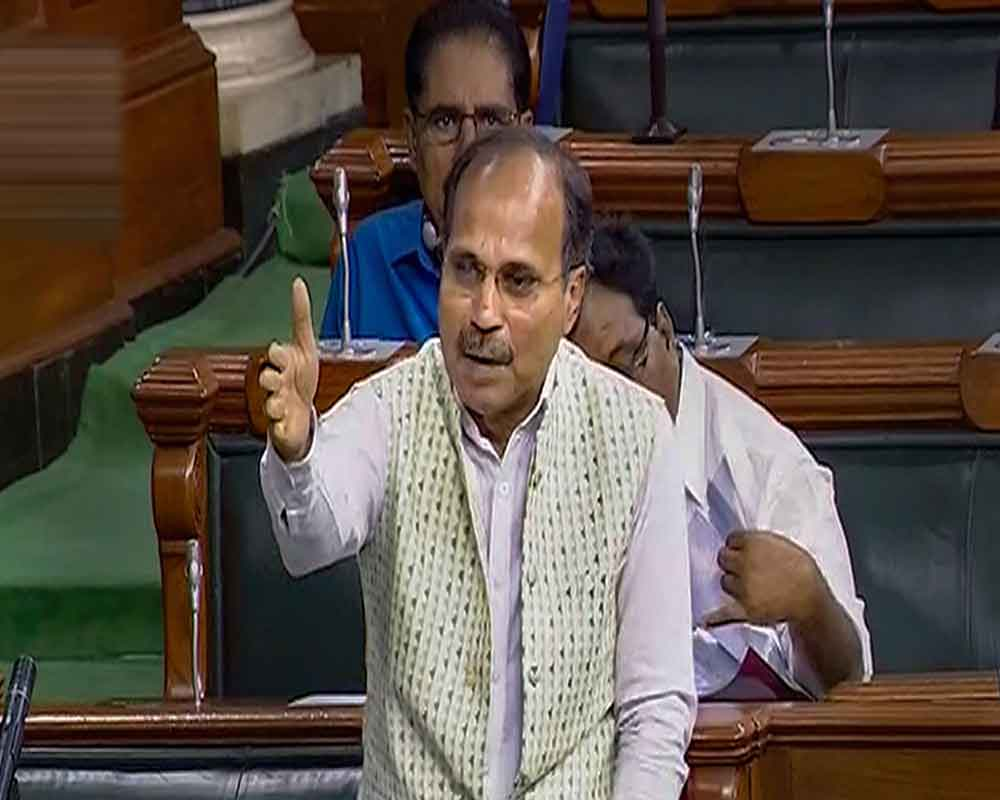 Congress MP Adhir Ranjan Chowdhury speaks in the Lok Sabha during the Budget Session of Parliament, in New Delhi - PTI