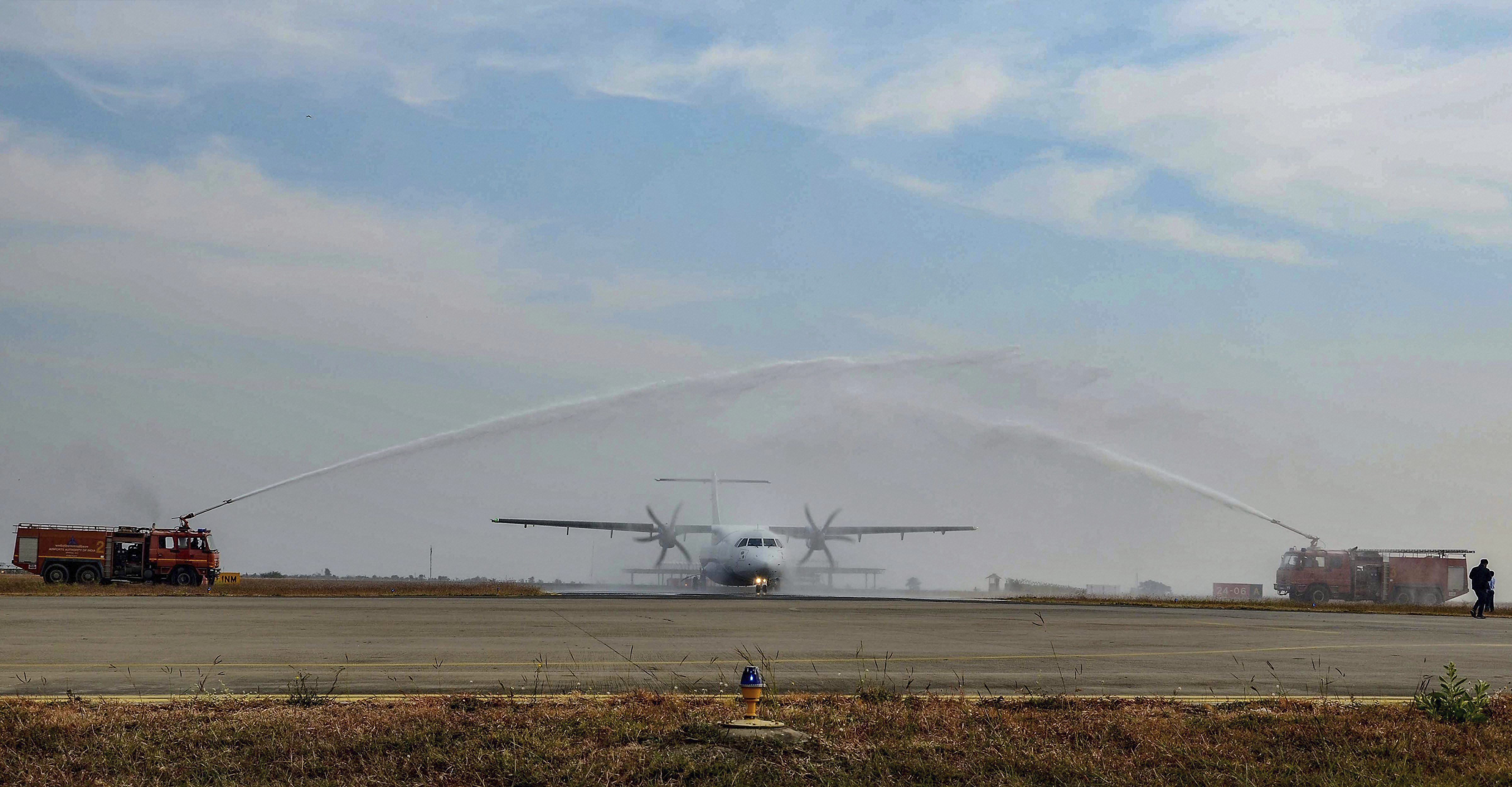 First flight of IndiGo airlines is given water salute after it landed at the newly inaugurated Dumna Airport, in Jabalpur - PTI