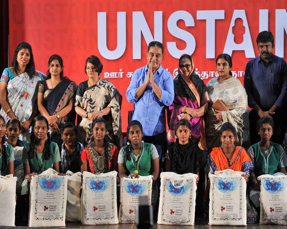 Makkal Needhi Maiam chief Kamal Haasan launches the 'Unstain', a campaign to distribute sanitary napkin to school girls, in Chennai - PTI