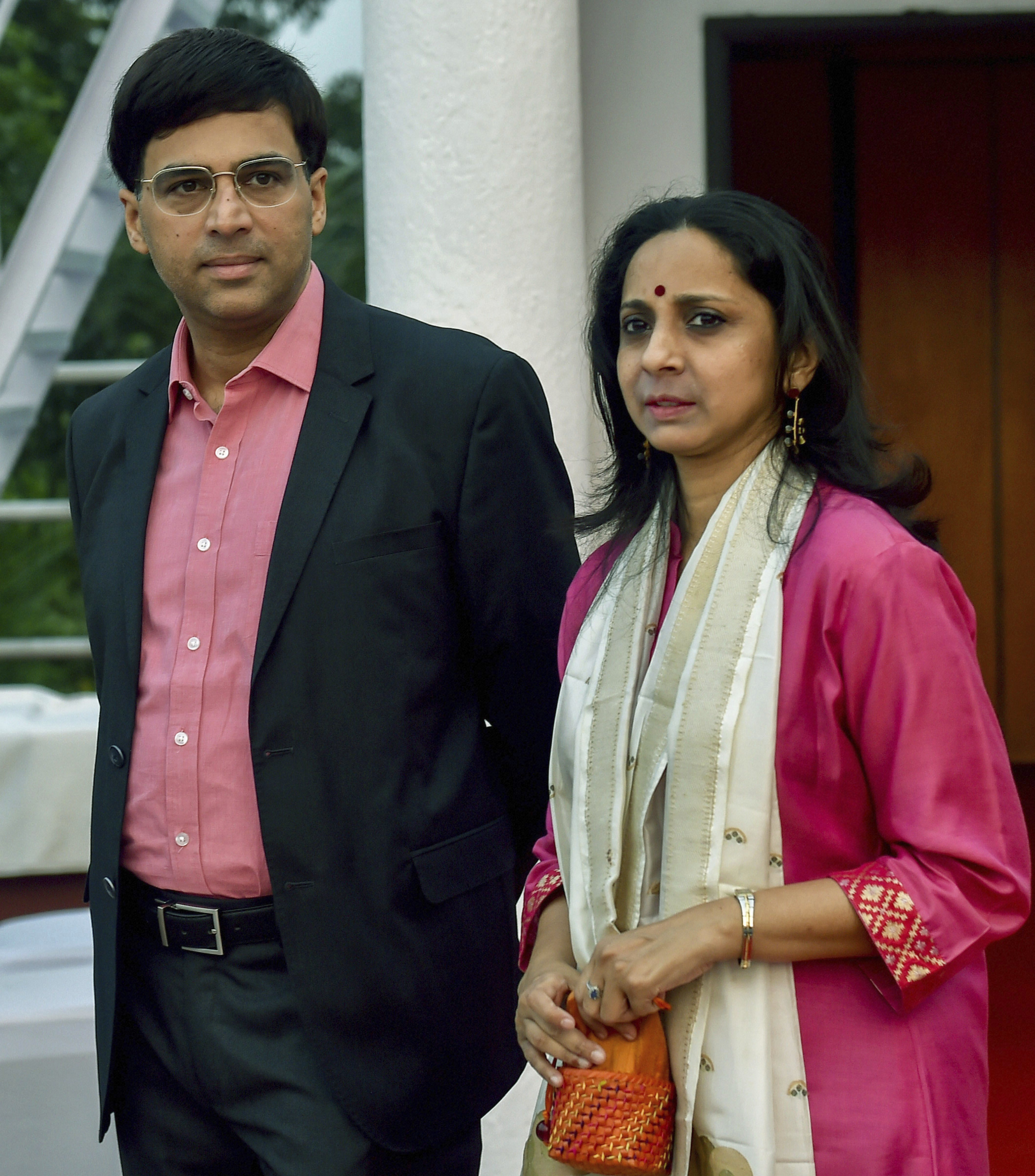 Five times World Champion Viswanathan Anand and his wife Aruna Anand on their arrival for the draw of Chess India 2018 tournament, in Kolkata - PTI
