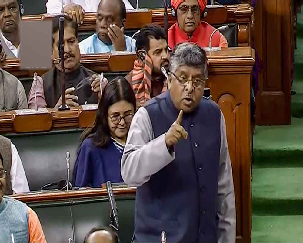 Union Minister Ravi Shankar Prasad speaks in the Lok Sabha during the ongoing Winter Session of Parliament, in New Delhi - PTI