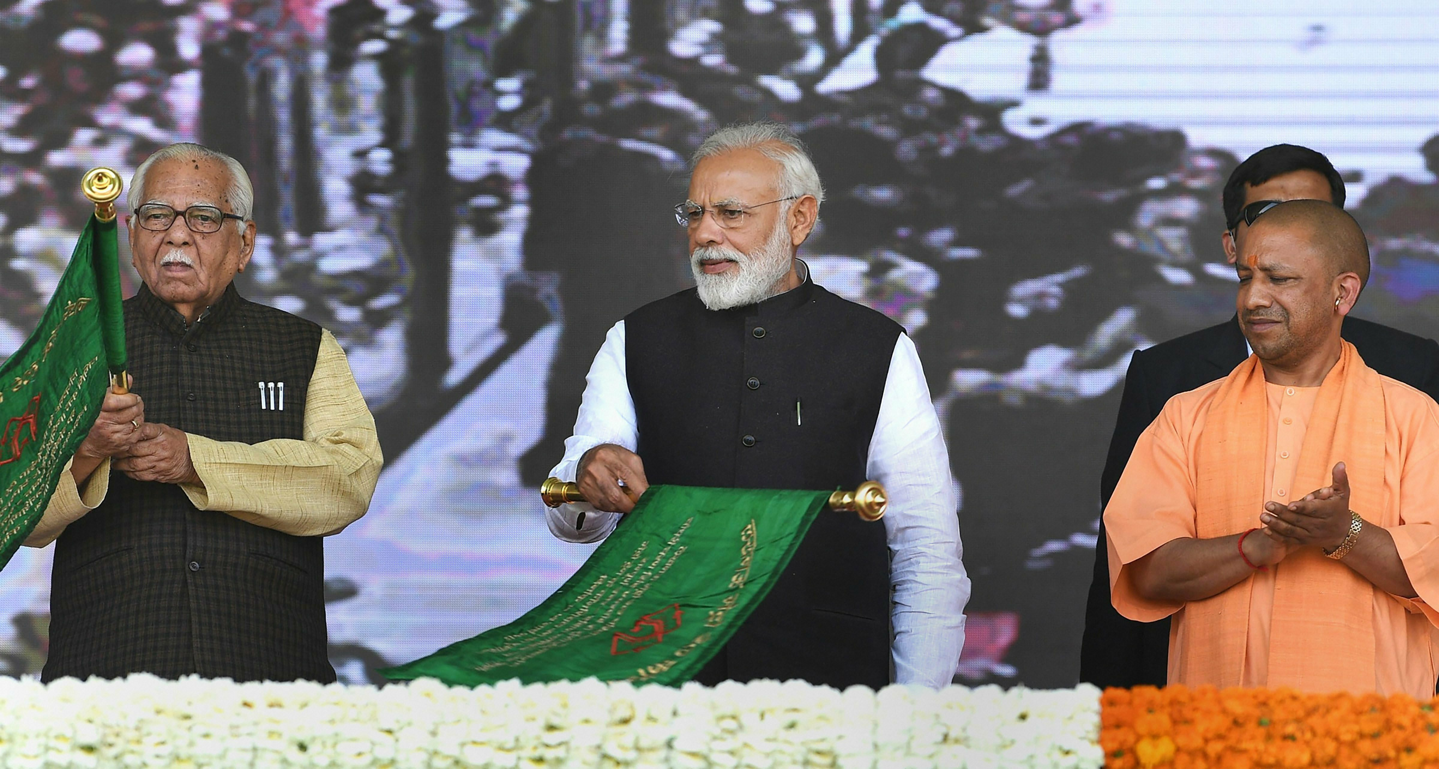 Prime Minister Narendra Modi unveils multiple development projects during a programme in Kanpur - PTI
