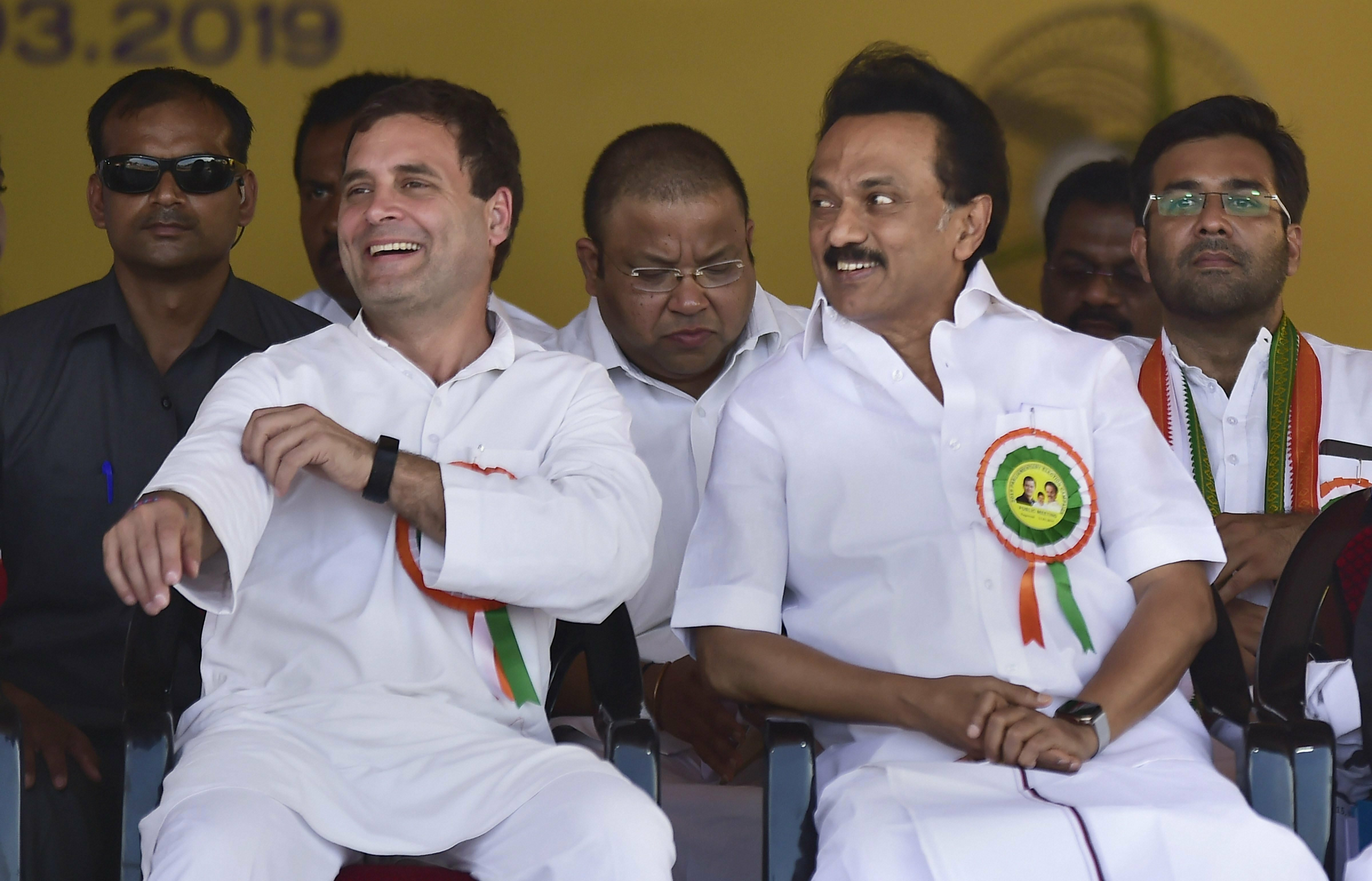 Congress President Rahul Gandhi and Dravida Munnetra Kazhagam (DMK) President M K Stalin during the formal launch of United Progressive Alliance (UPA), a campaign in Tamil Nadu from the Kanyakumari parliamentary constituency, at Nagercoil, in Kanyakumari district - PTI