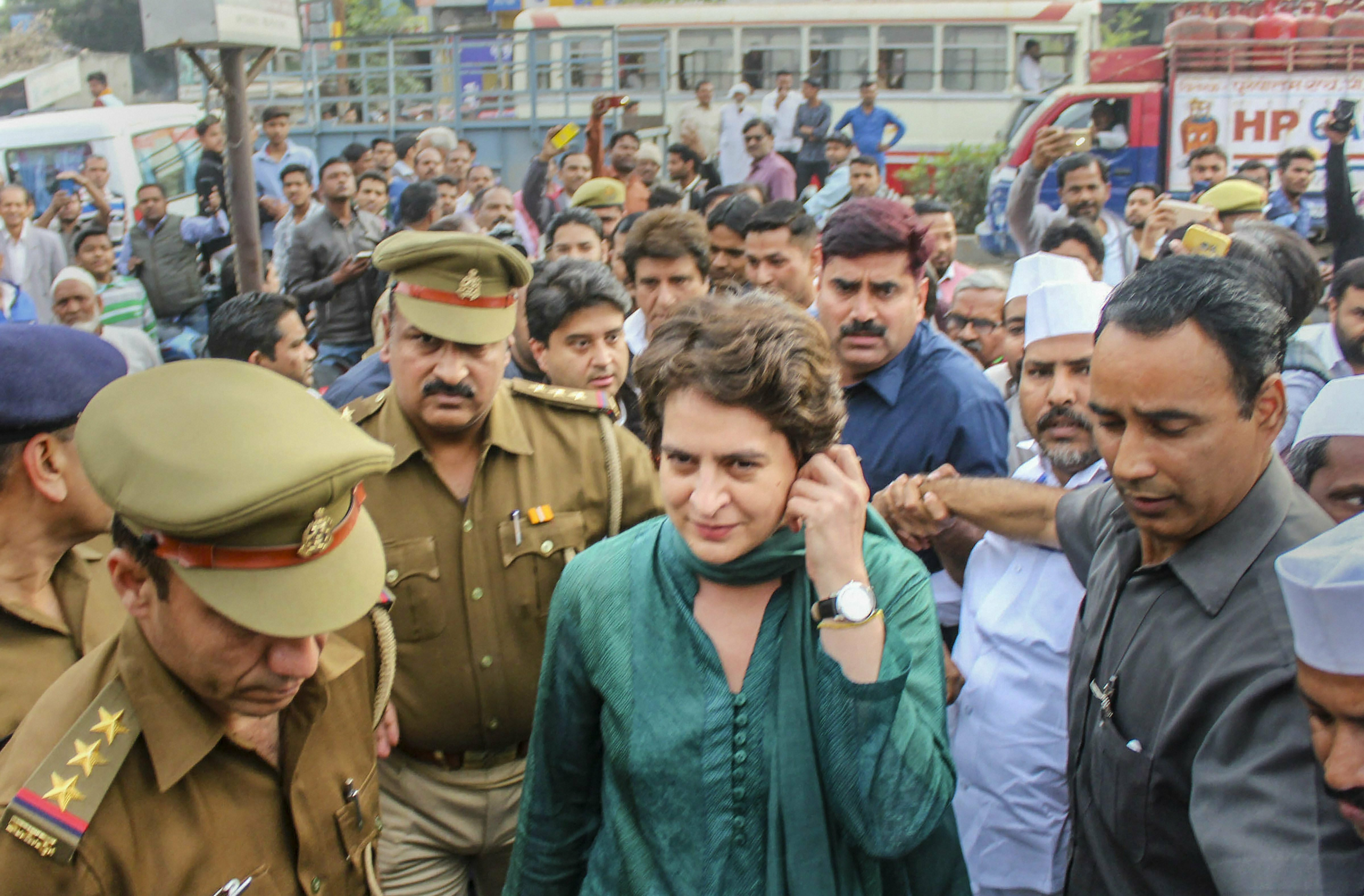 Congress General Secretary Priyanka Gandhi Vadra leaves after visiting Bhim Army chief Chandrashekhar Azad at a hospital, in Meerut - PTI