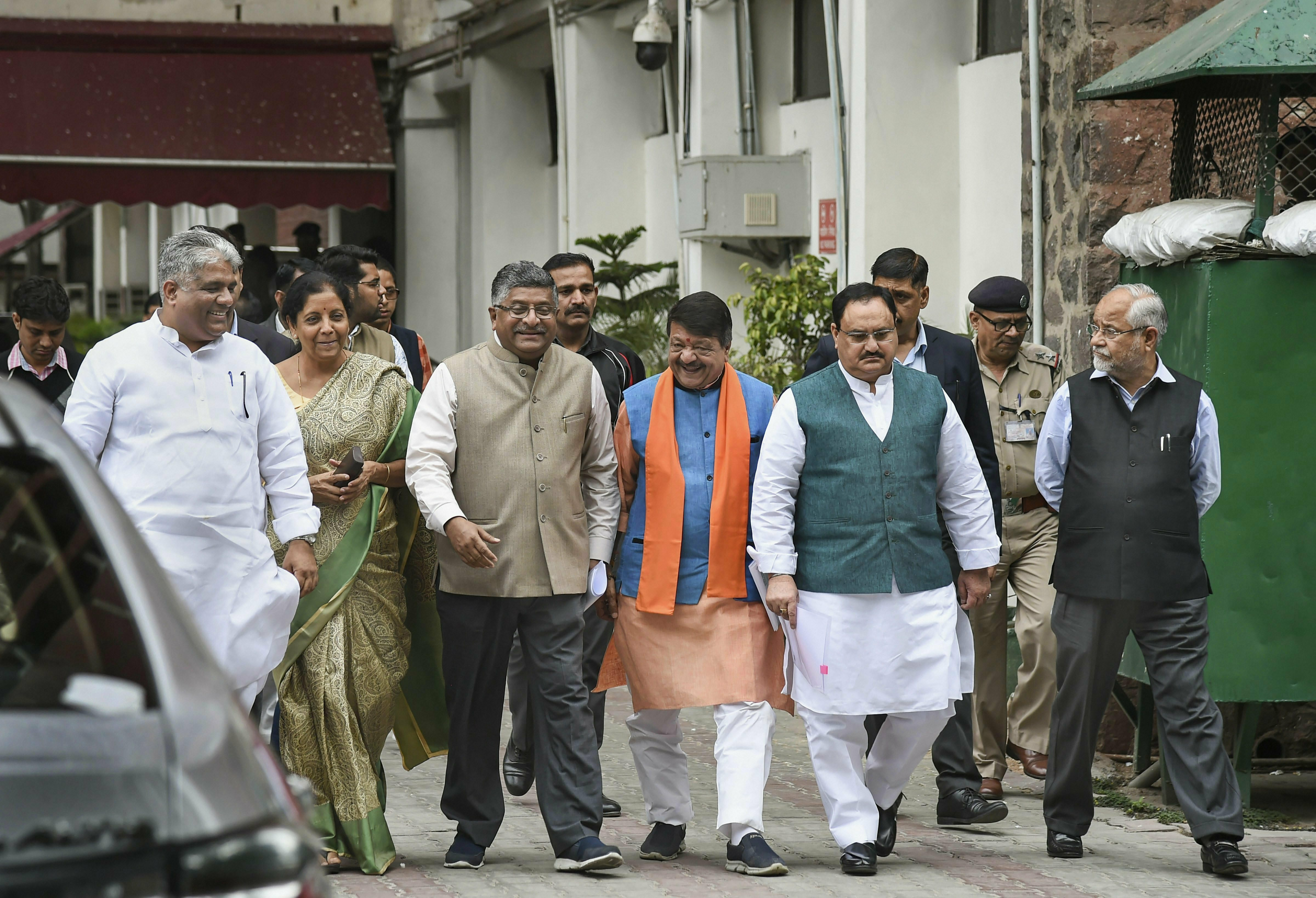 BJP delegation comprising Ravi Shankar Prasad, Nirmala Sitharaman, JP Nadda, Bhupender Yadav, Kailash Vijayvargiya and others arrive to address the media after their meeting with the Election Commission of India, in New Delhi - PTI