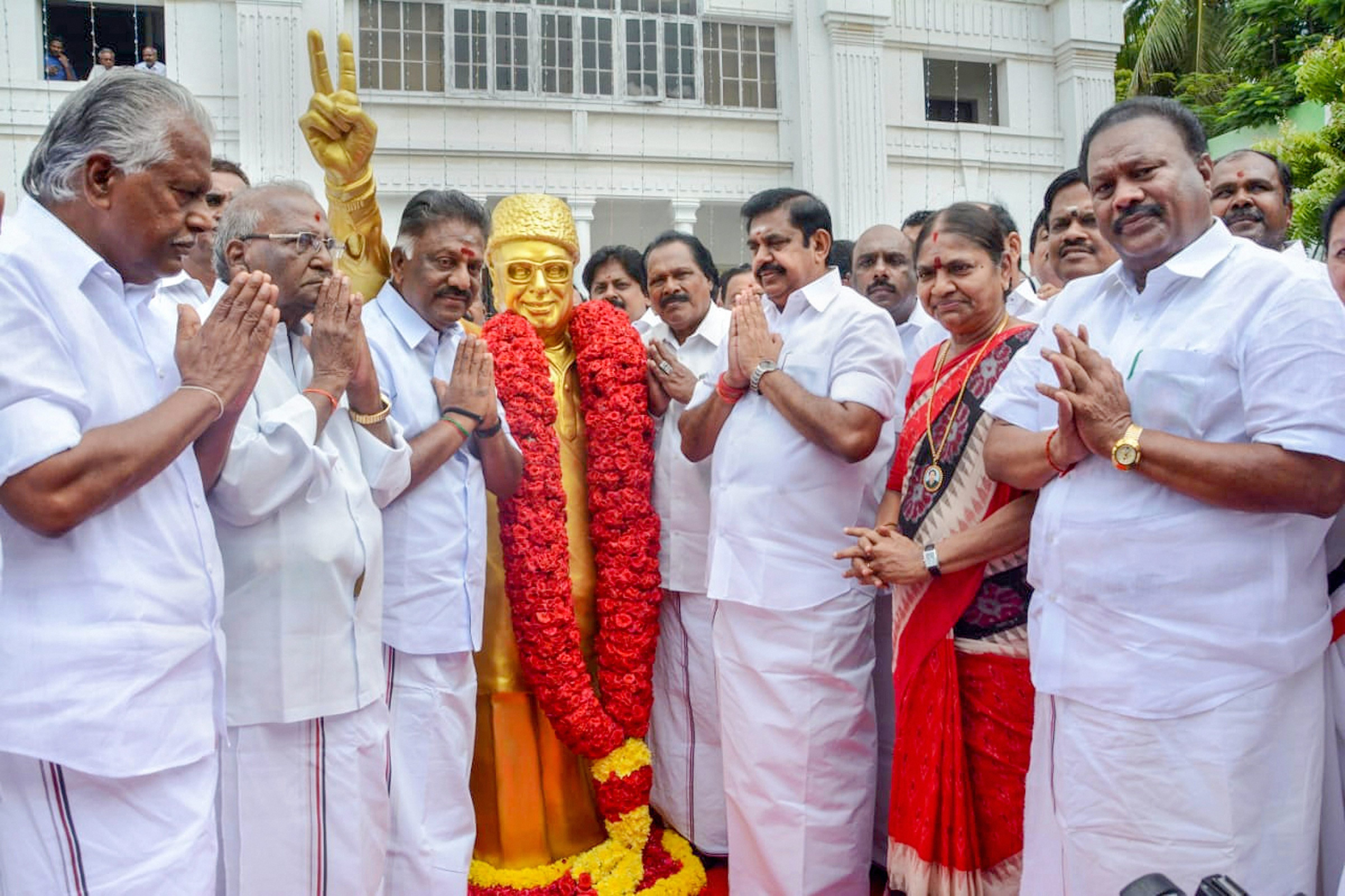 Chief Minister and AIADMK joint coordinator K Palaniswami, party coordinator and deputy CM O Panneerselvam and other senior party leaders during the 47th AIADMK Founding Day celebrations in Chennai - PTI