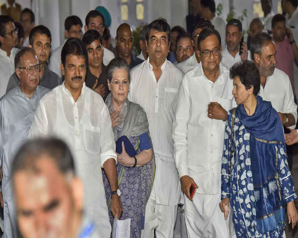 Congress Parliamentary Party (CPP) Chairperson Sonia Gandhi along with party  leaders leave after the Congress Working Committee (CWC) meeting, in New Delhi, Saturday, August 10, 2019.TheCongress Working Committeelate on Saturday named Congress Parliamentary Party chairpersonSonia Gandhi as party's interim President - PTI
