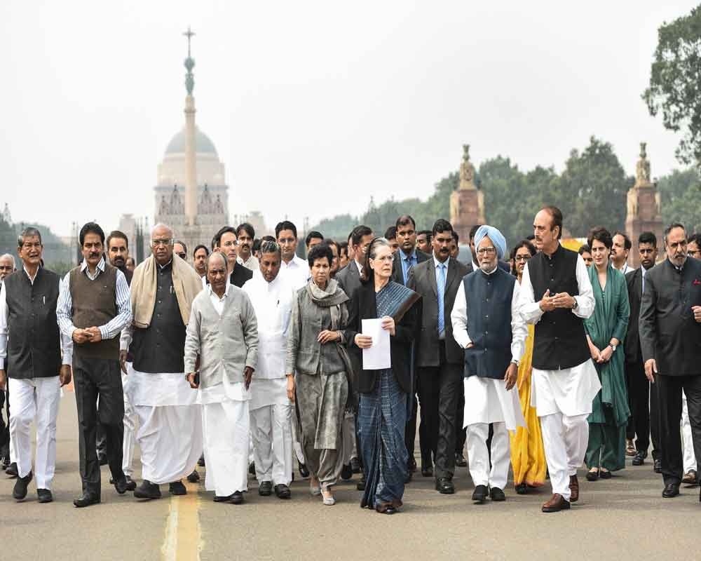 Congress Party delegation led by party President Sonia Gandhi is seen after meeting with President Ram Nath Kovind at Rashtrapati Bhawan, in New Delhi - PTI
